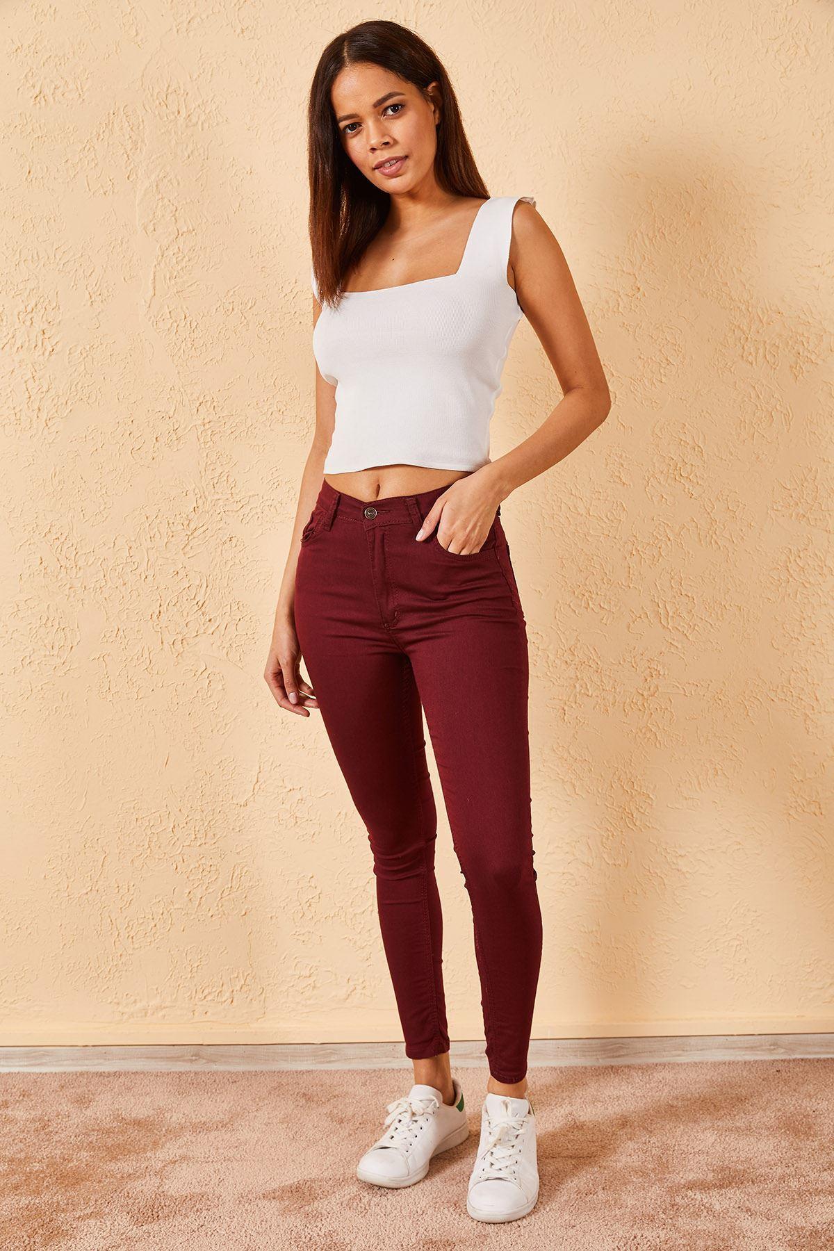Kadın Cepli Dar Paça Bordo Pantolon