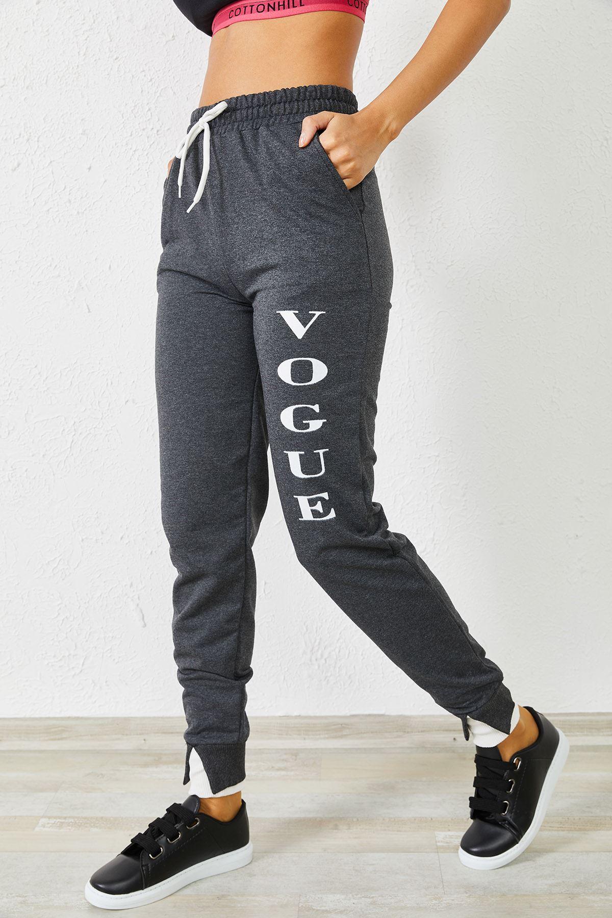 Kadın Vogue Baskılı Paça Detaylı Füme Eşofman Altı
