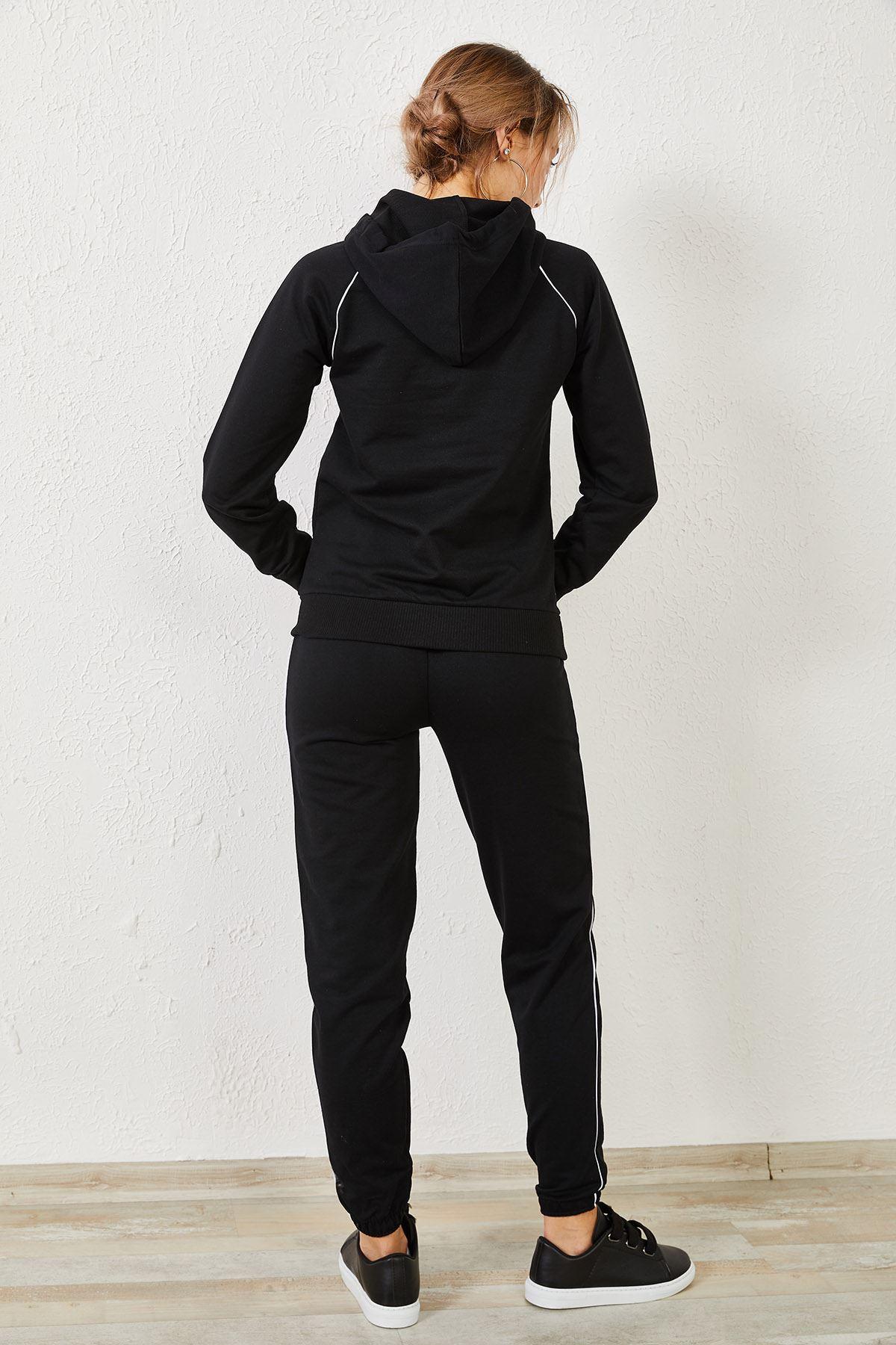 Kadın Kanguru Cep Siyah Eşofman Takım