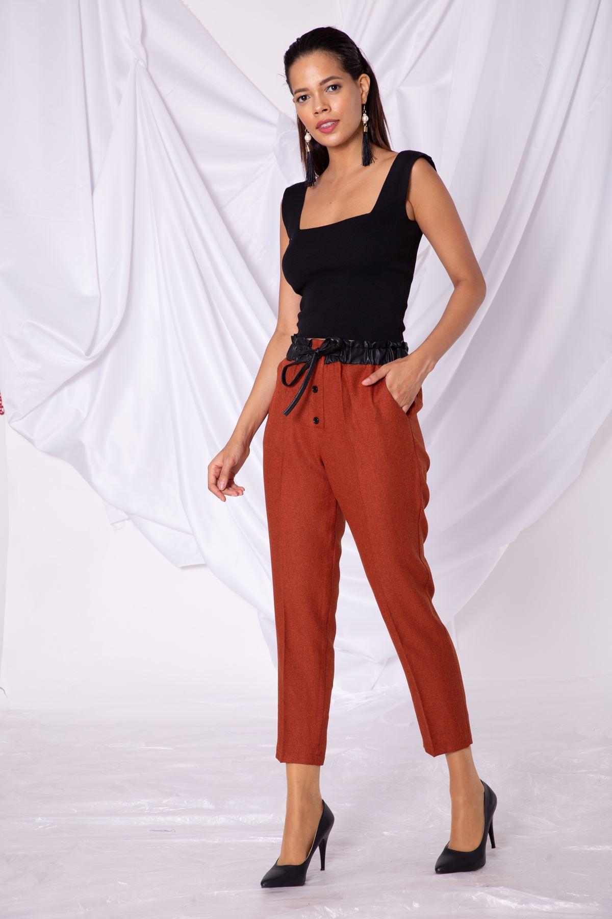 Kadın Bel Deri Lastik Detaylı Kiremit Kumaş Pantolon