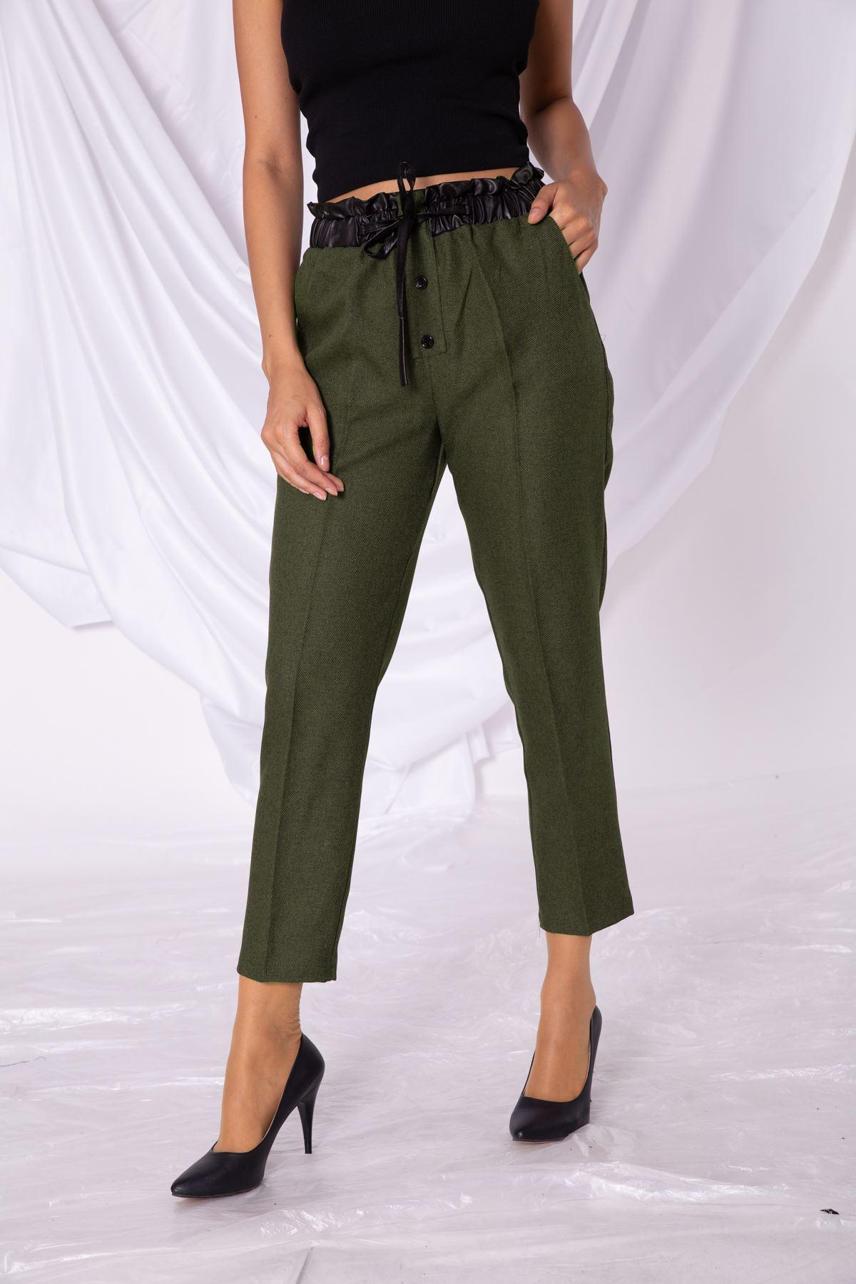 Kadın Bel Deri Lastik Detaylı Haki Kumaş Pantolon