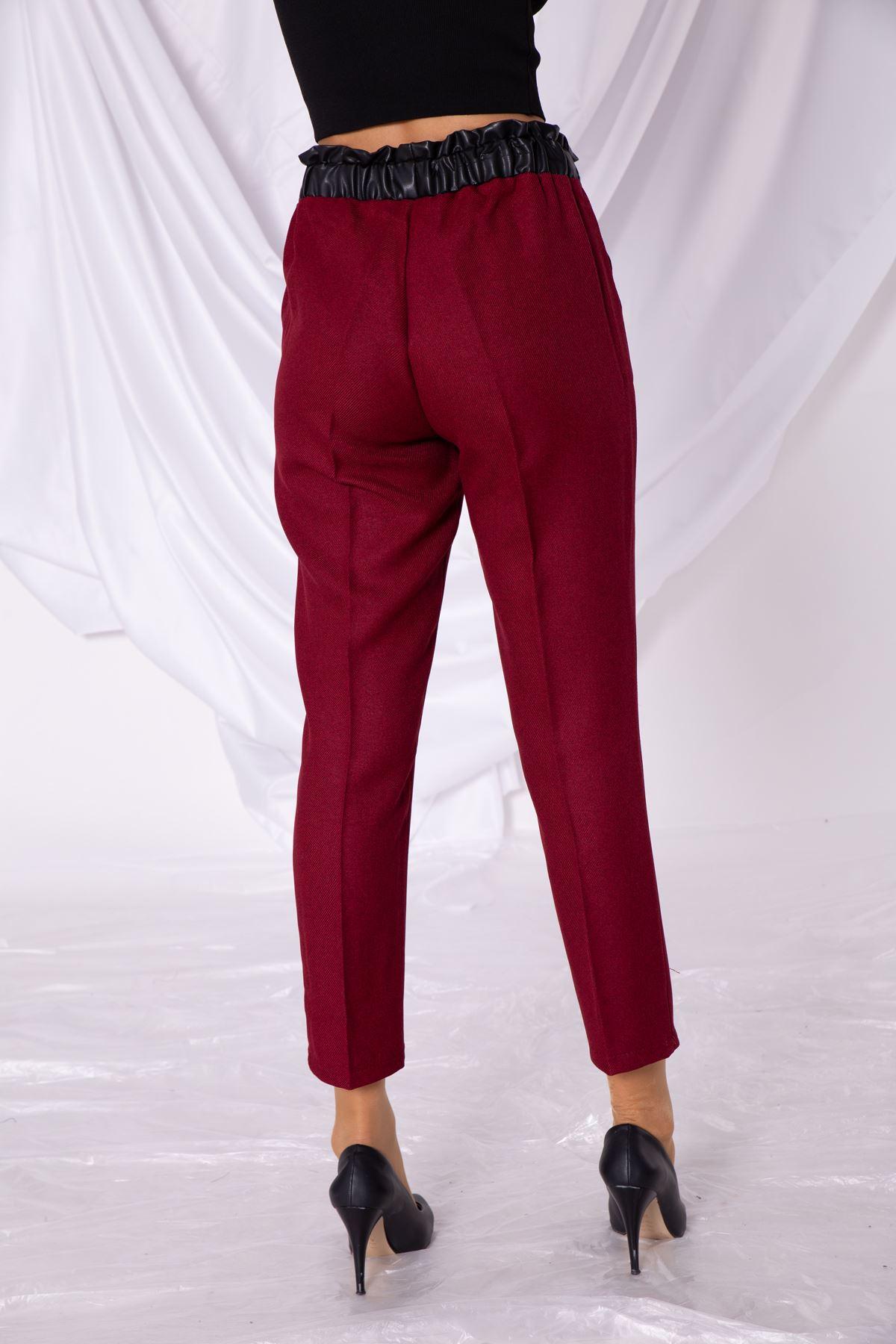 Kadın Bel Deri Lastik Detaylı Bordo Kumaş Pantolon