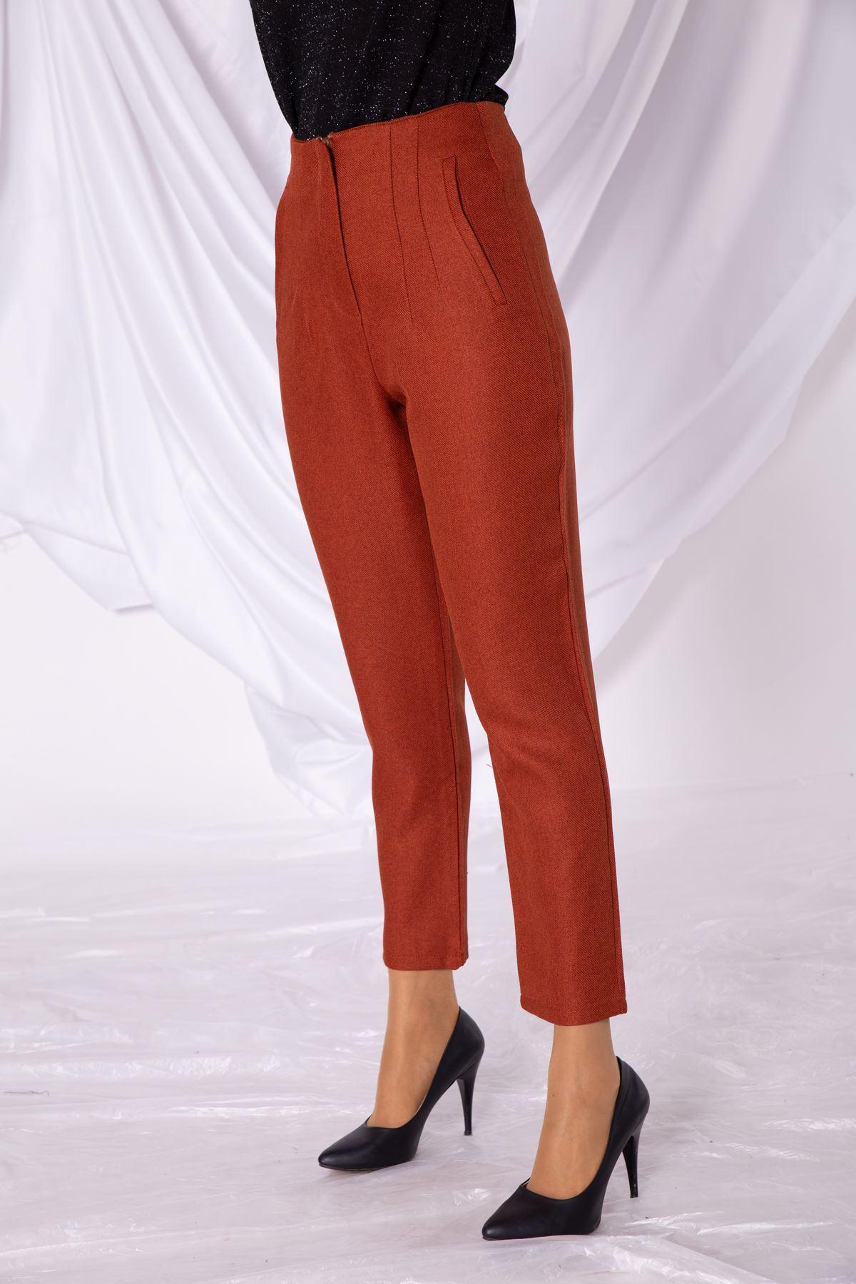 Kadın Sahte Cep Bel Detaylı Kiremit Kumaş Pantolon