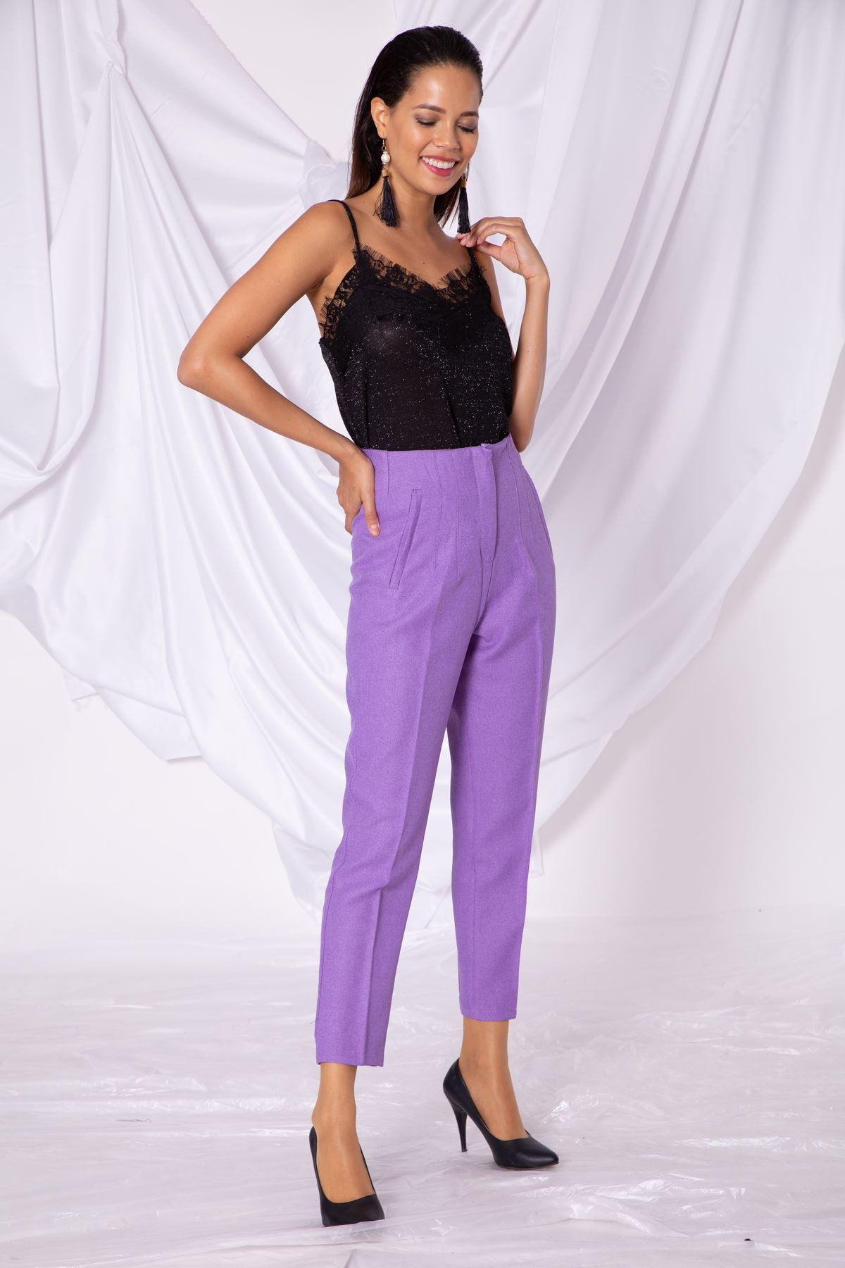 Kadın Sahte Cep Bel Detaylı Lila Kumaş Pantolon