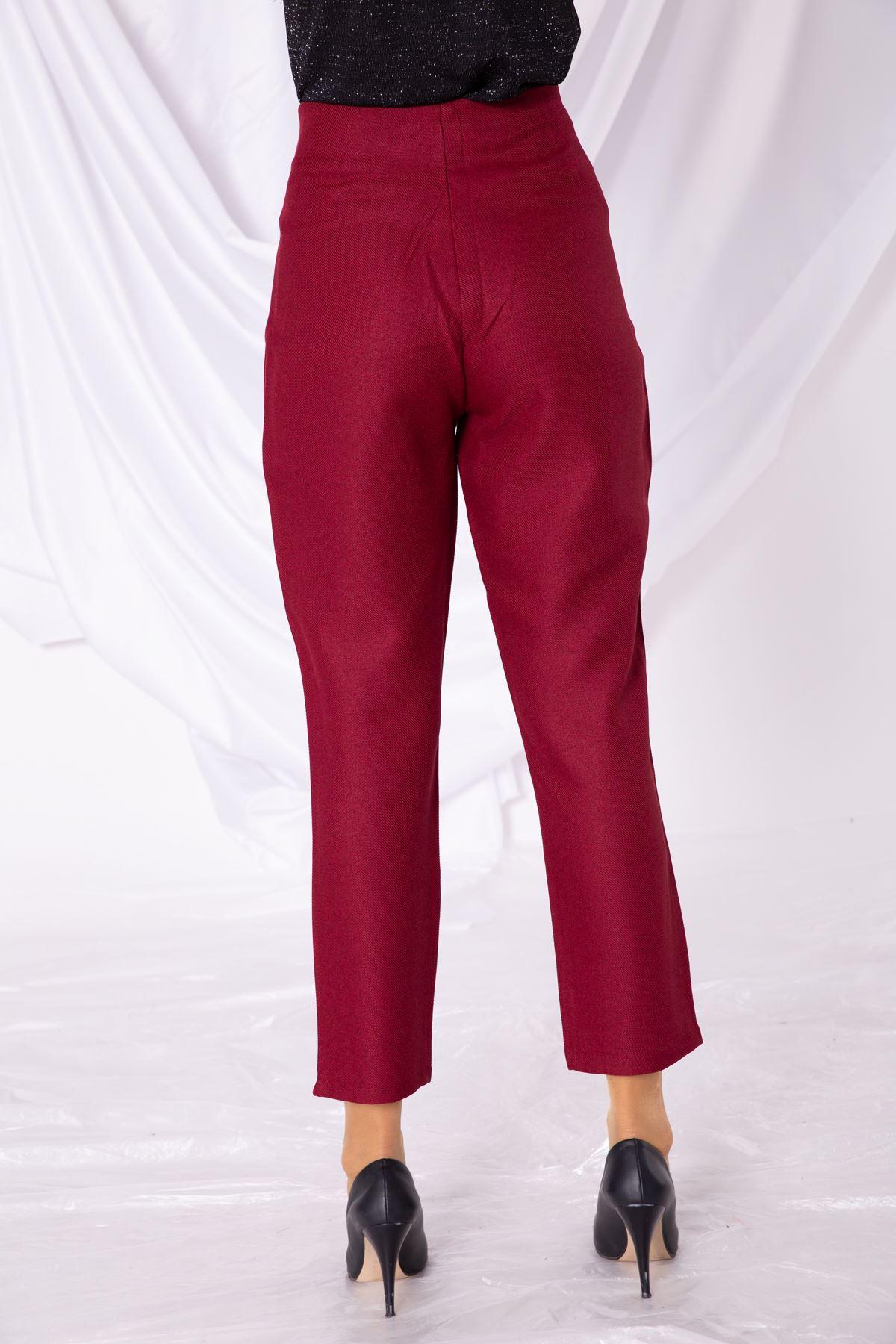 Kadın Sahte Cep Bel Detaylı Bordo Kumaş Pantolon