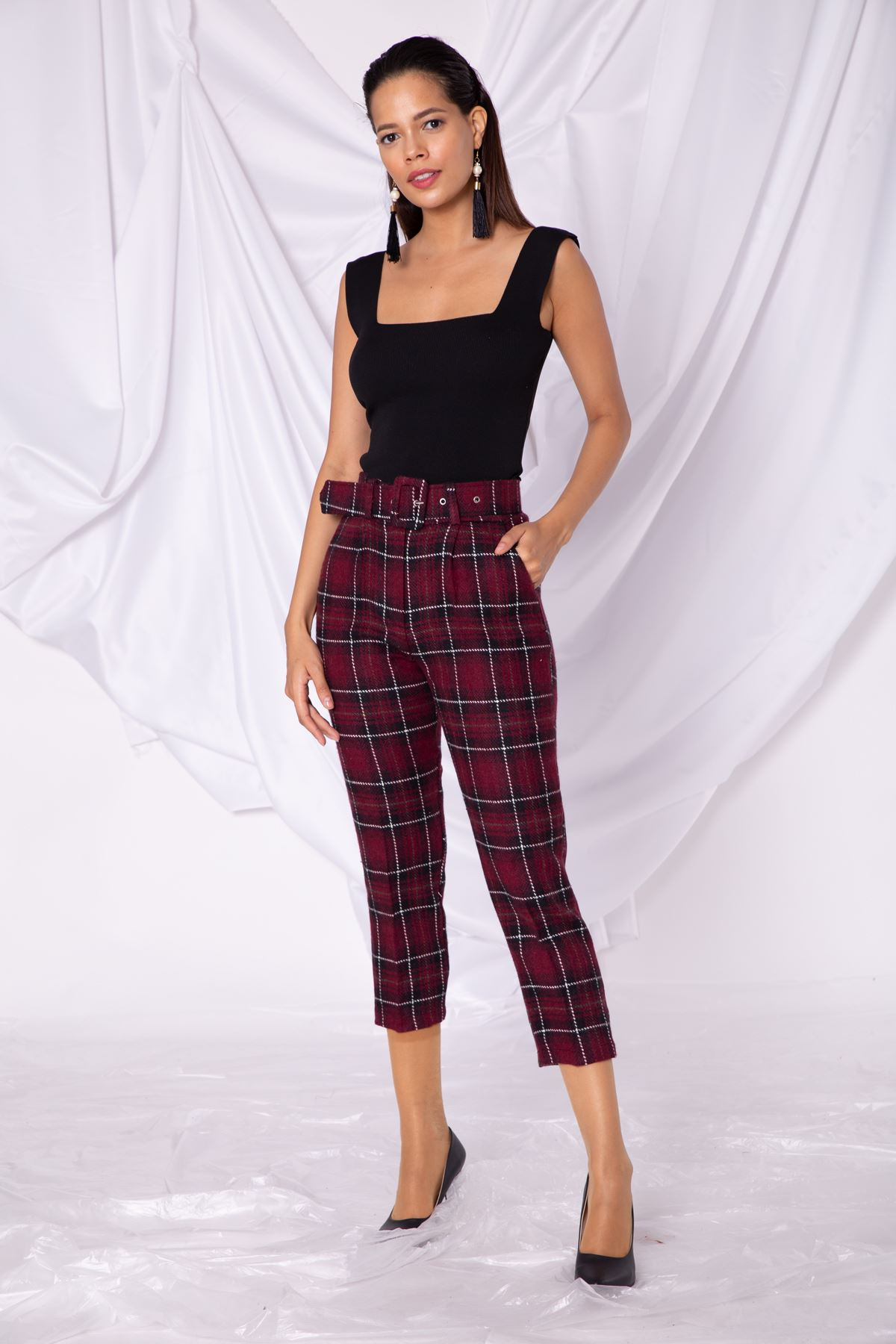 Kadın Ekose Bordo Pantolon
