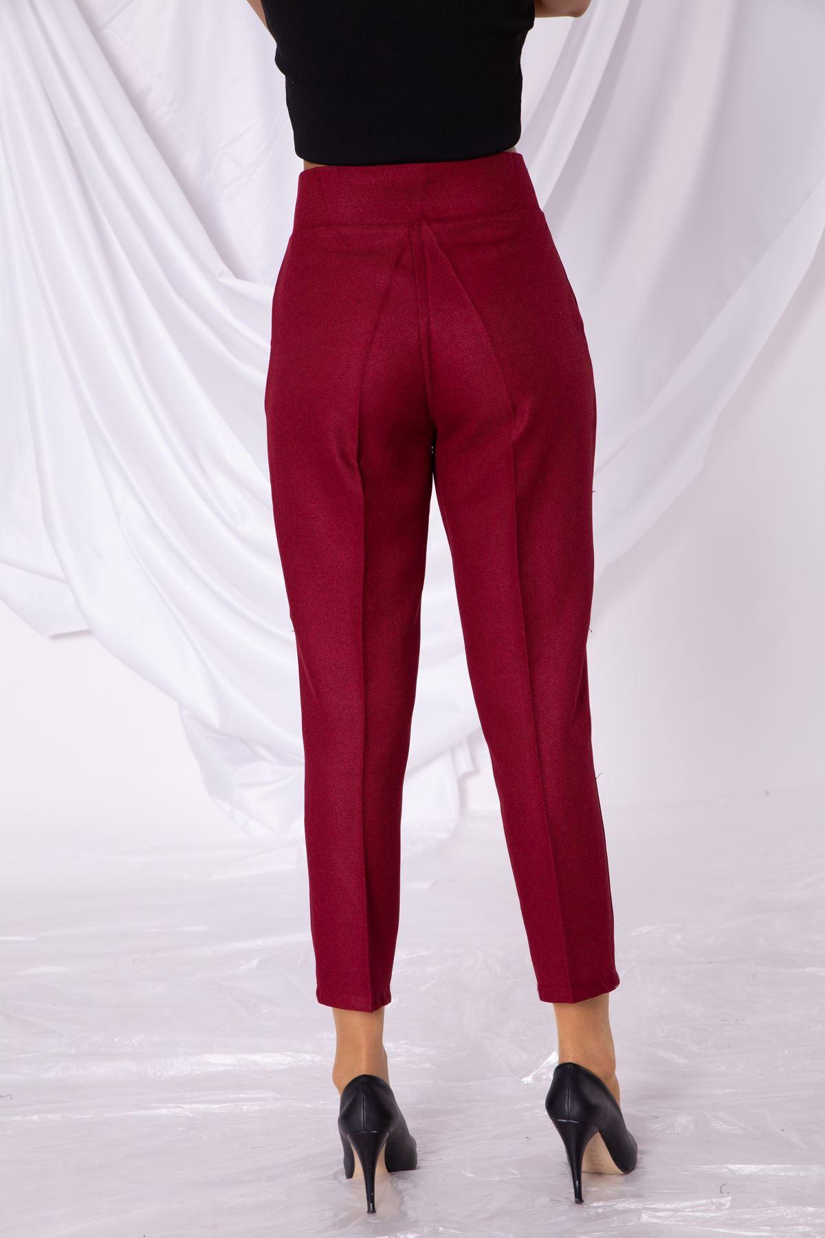 Kadın Bordo Kalem Kumaş Pantolon