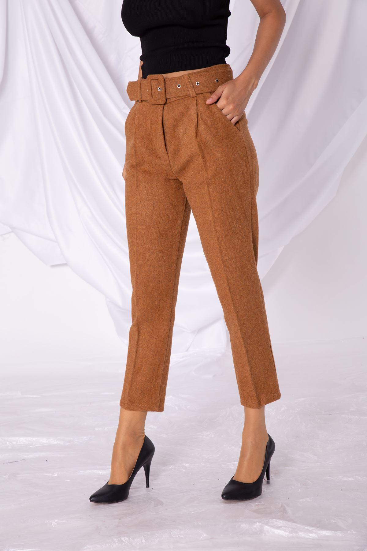 Kadın Kaşe Hardal Pantolon