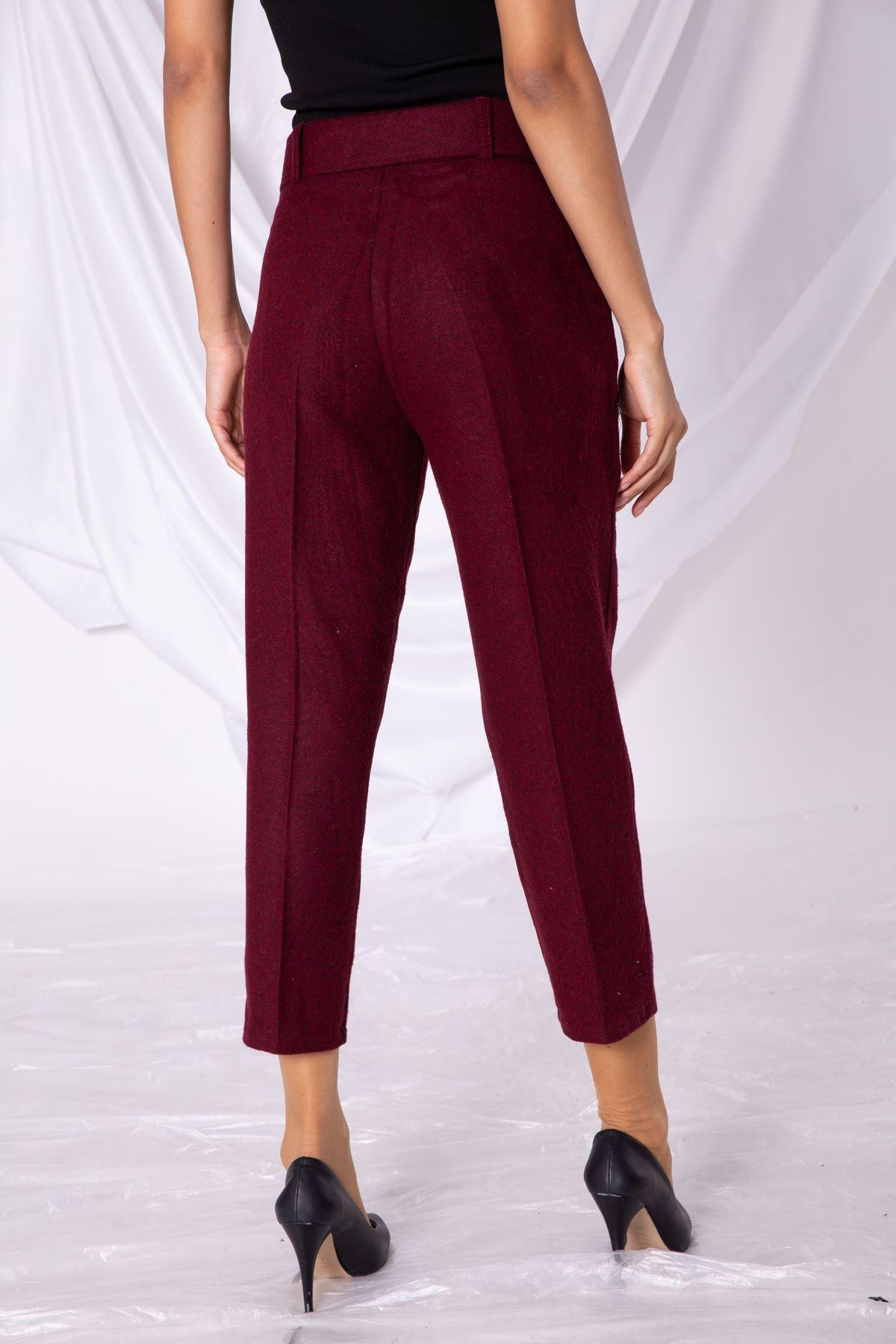Kadın Kaşe Bordo Pantolon