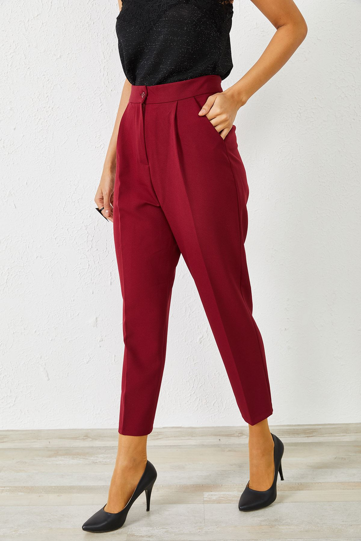 Kadın Klasik Bordo Kalem Pantolon