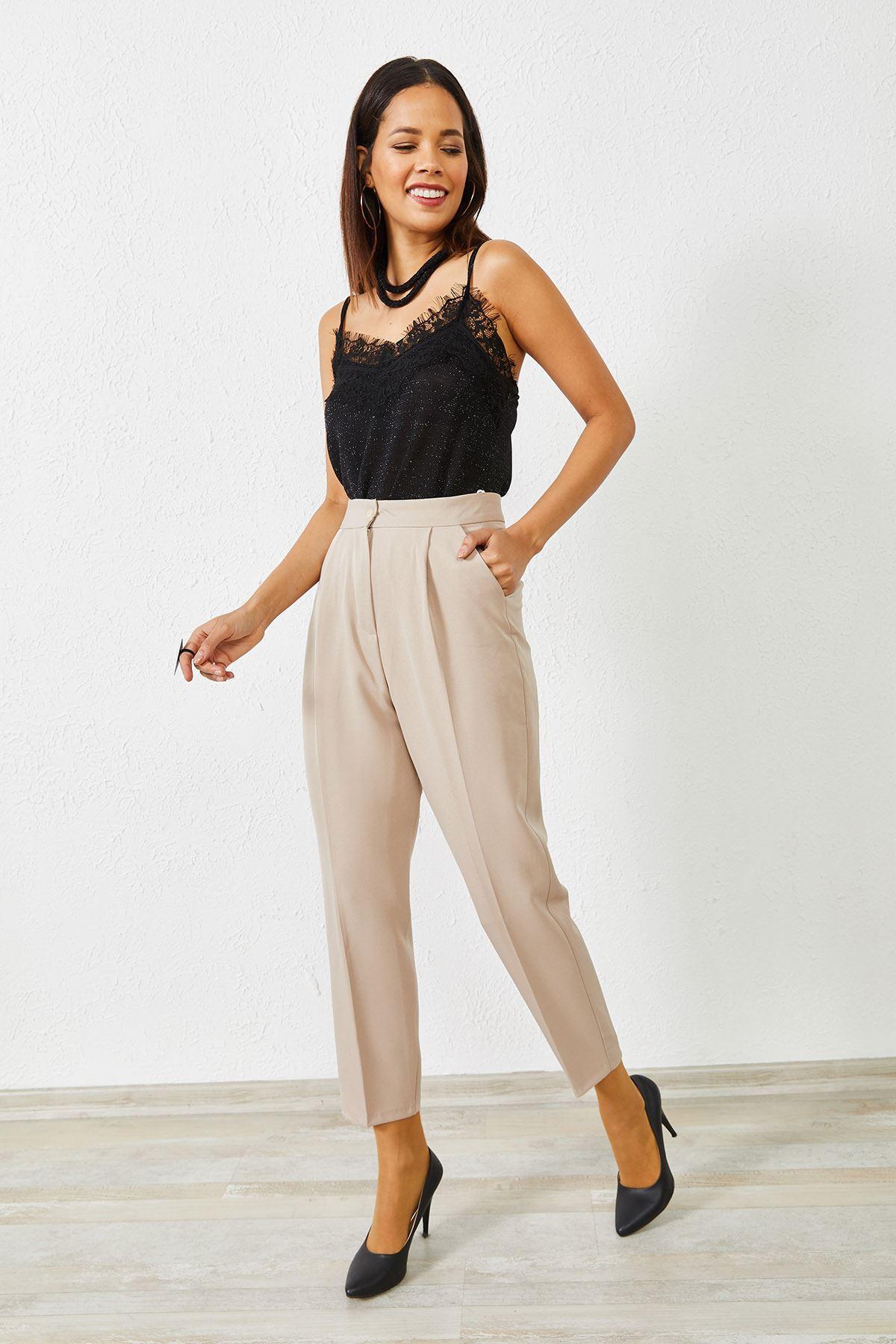 Kadın Klasik Taş Kalem Pantolon