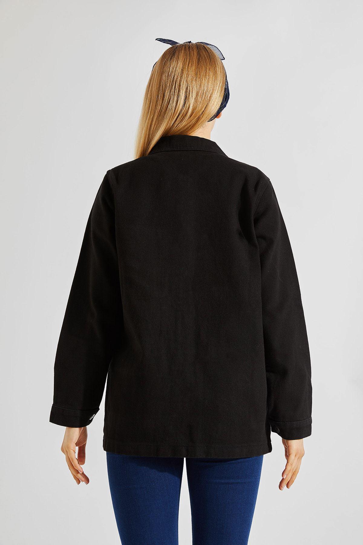 Kadın Gabardin Boyfriend Tek Kapaklı Cep Siyah Ceket