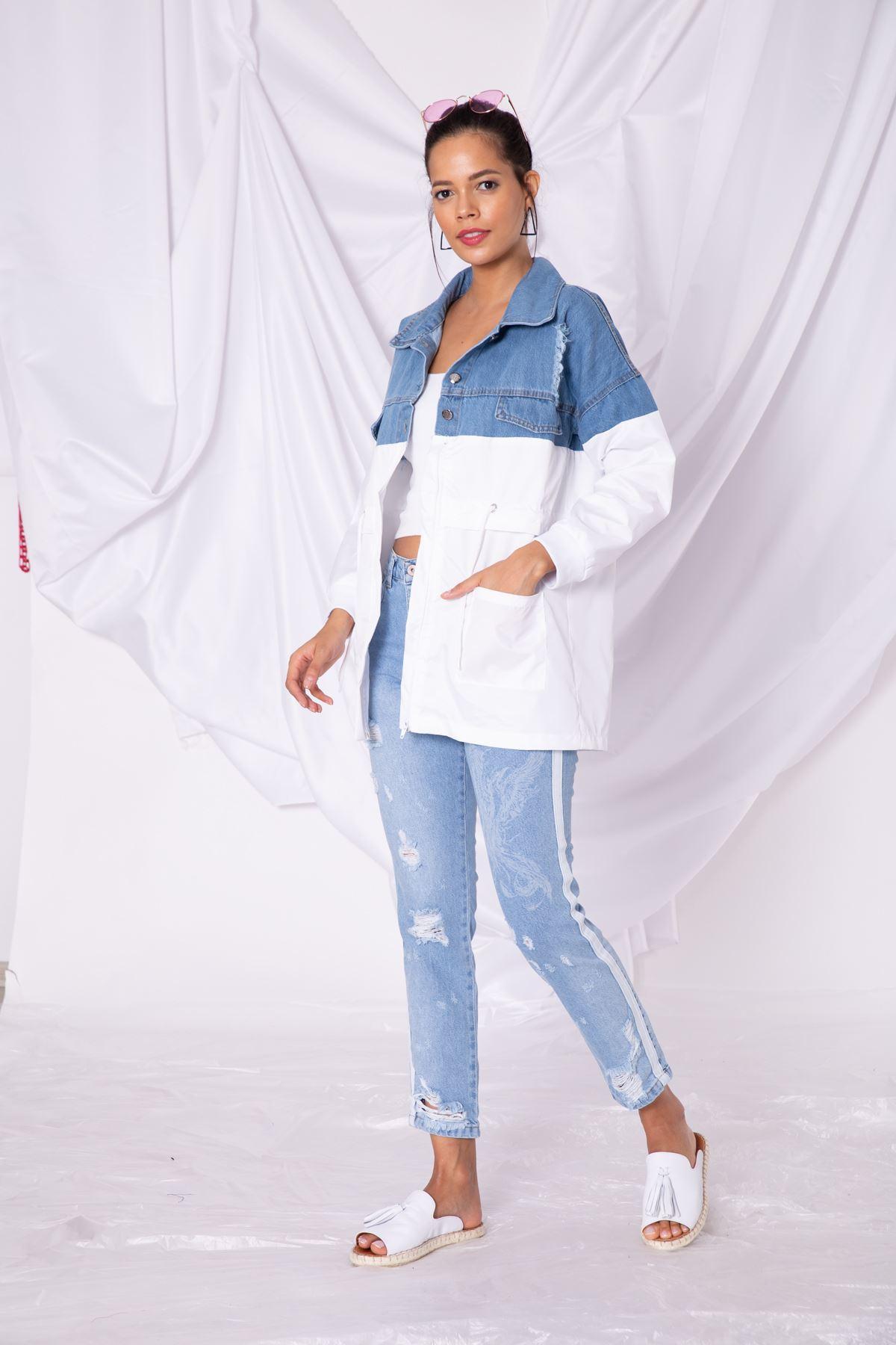 Kadın Beyaz Parçalı Mavi Kot Ceket