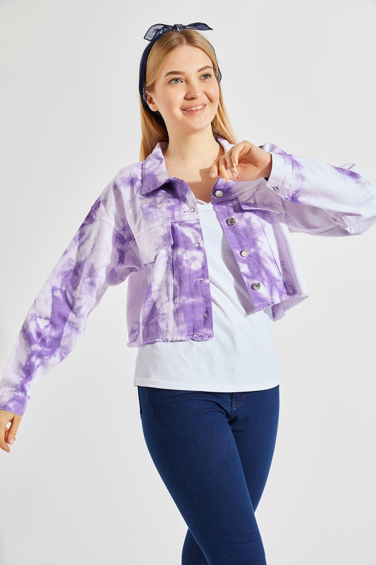 Kadın Batik Mor Kısa Ceket