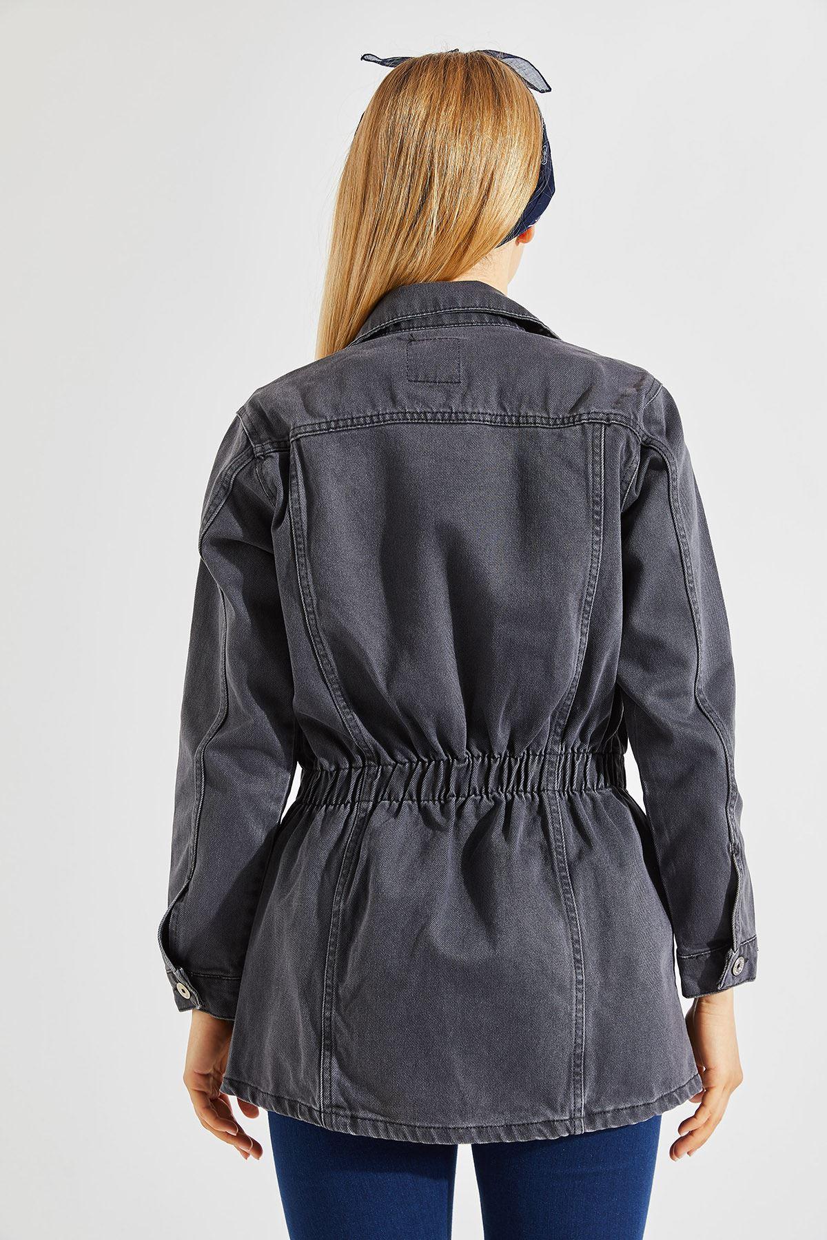 Kadın Bel Lastikli Uzun Gri Kot Ceket