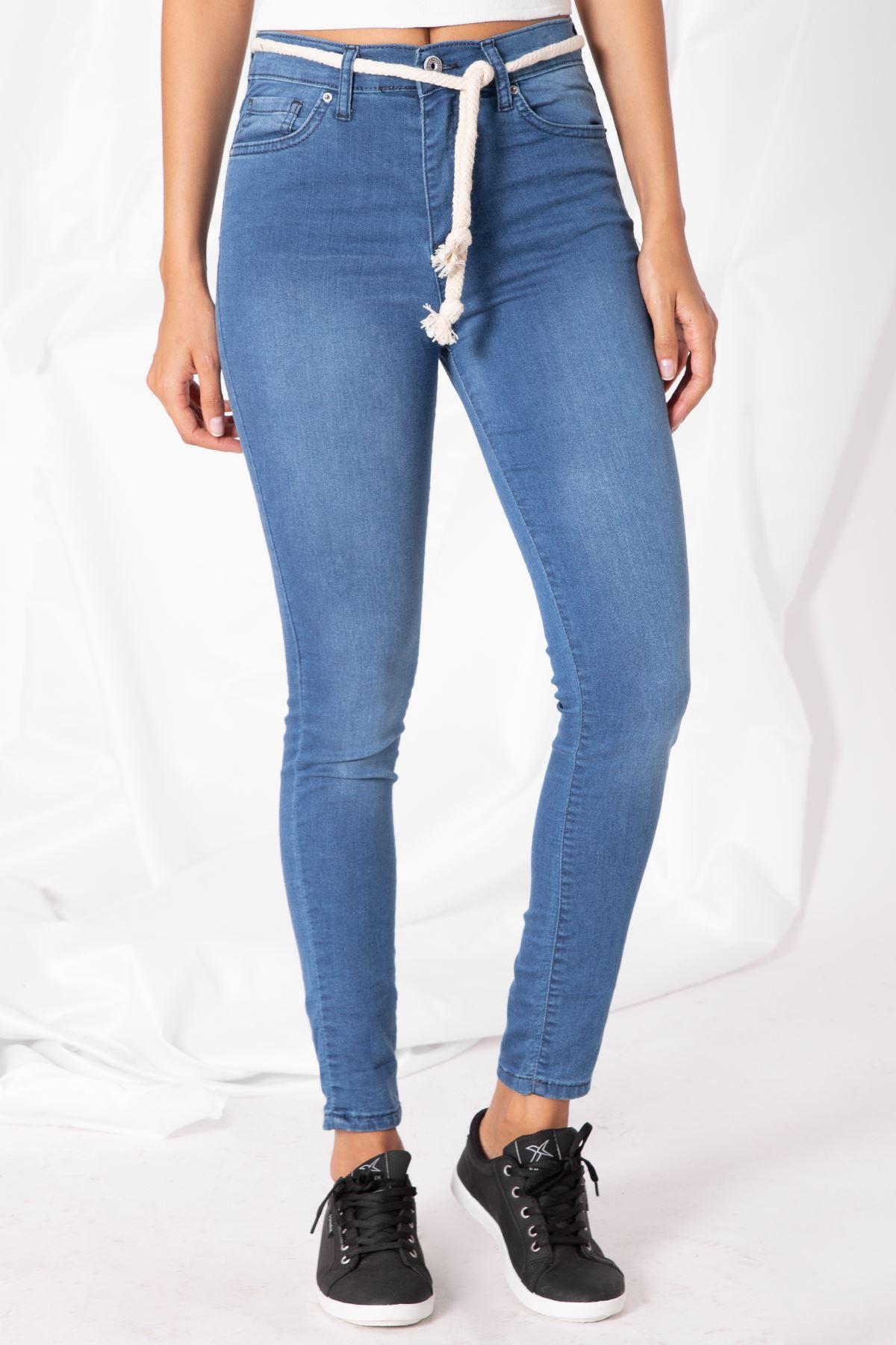 Kadın Likralı İp Bağcıklı Mavi Kot Pantolon