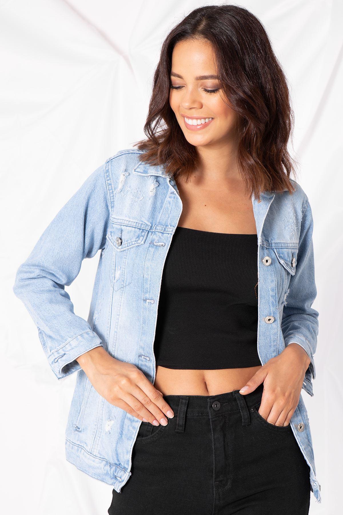 Kadın Lazer Yırtıklı Açık Mavi Kot Ceket