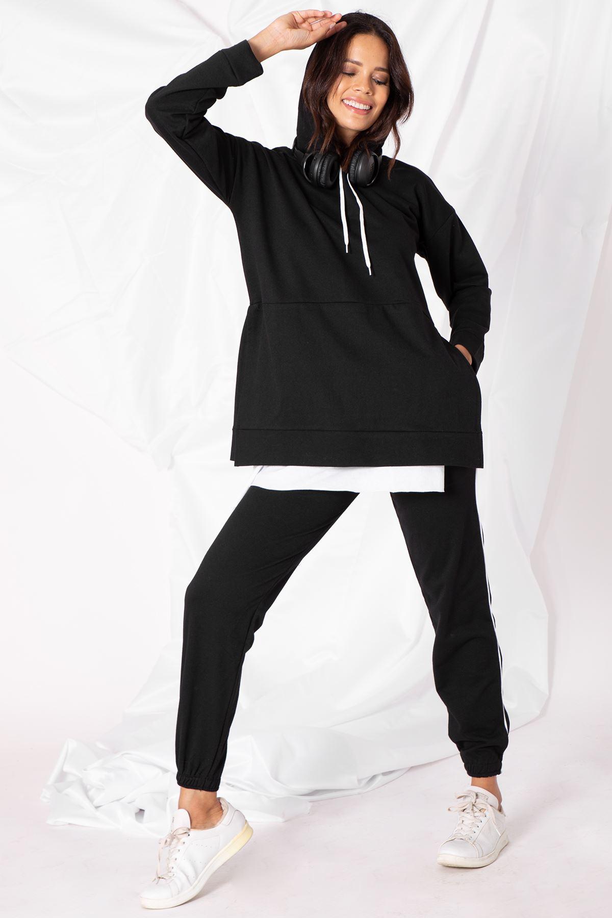 Kadın Etek Parçalı Siyah Tunik Takım