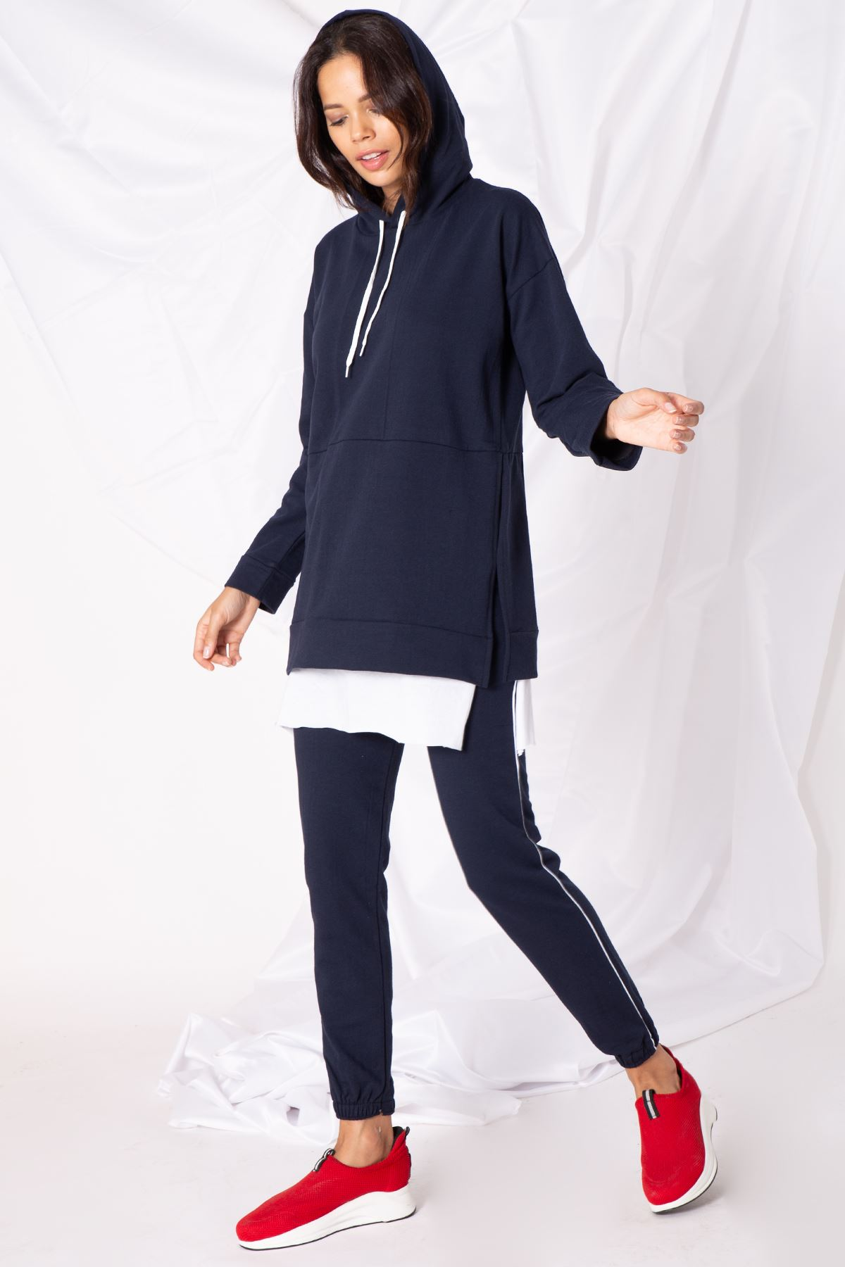 Kadın Etek Parçalı Lacivert Tunik Takım