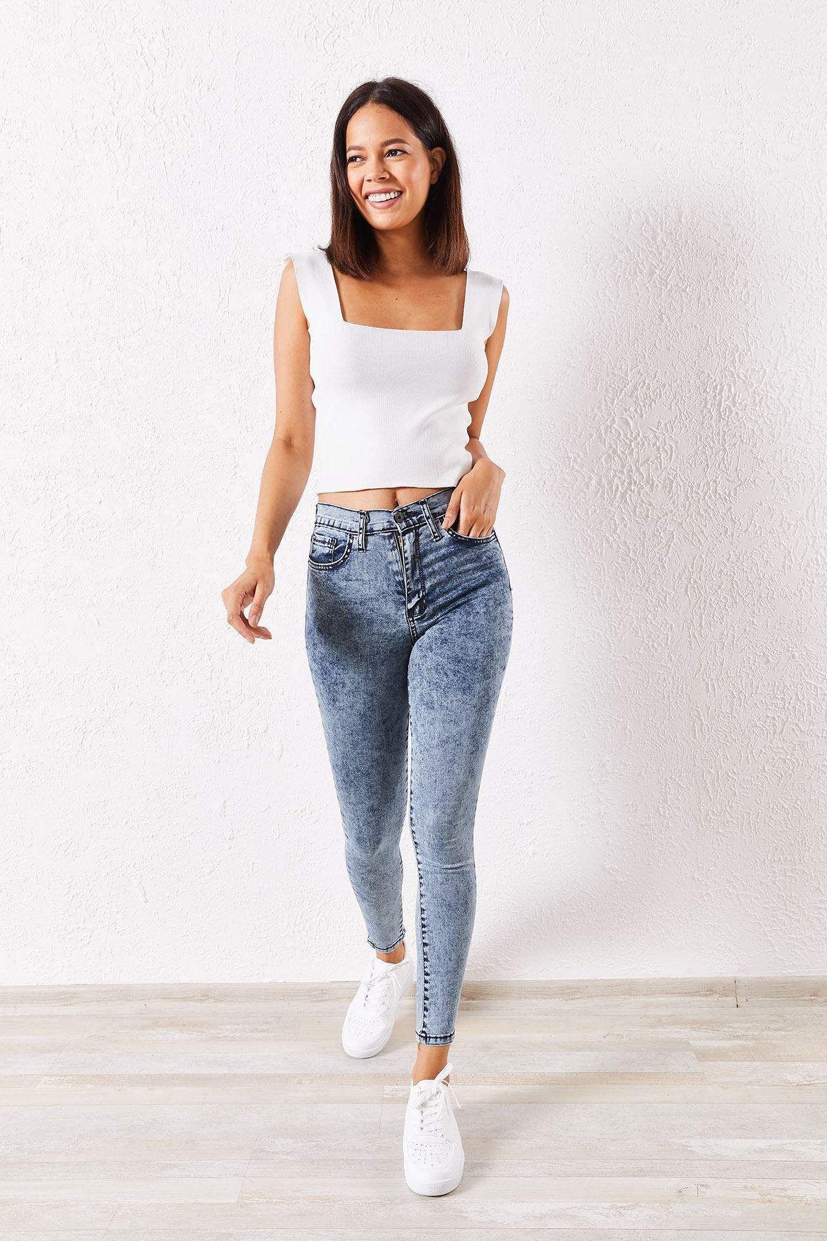 Kadın Likralı Slim Yıkamalı Gri Kot Pantolon
