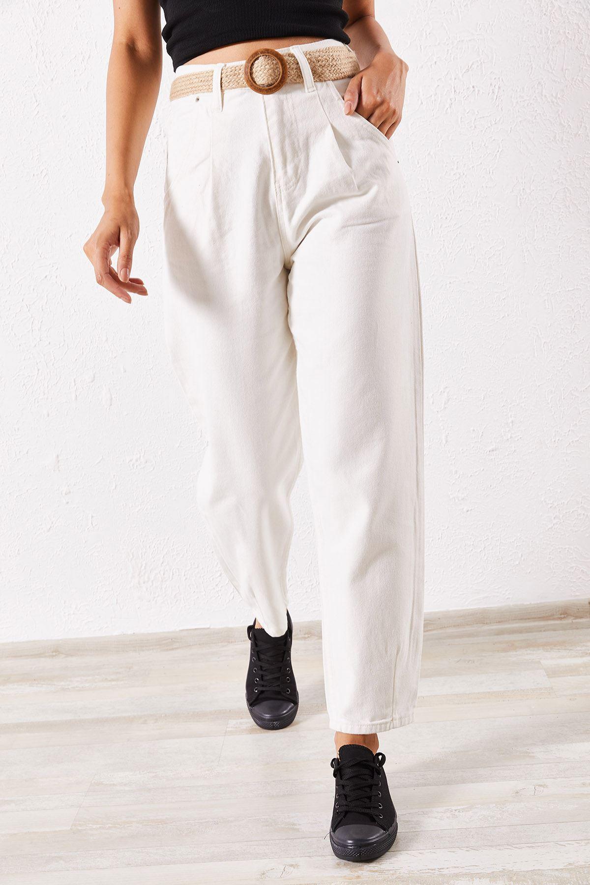 Kadın Hasır Kemerli Boyfriend Beyaz Balon Pantolon