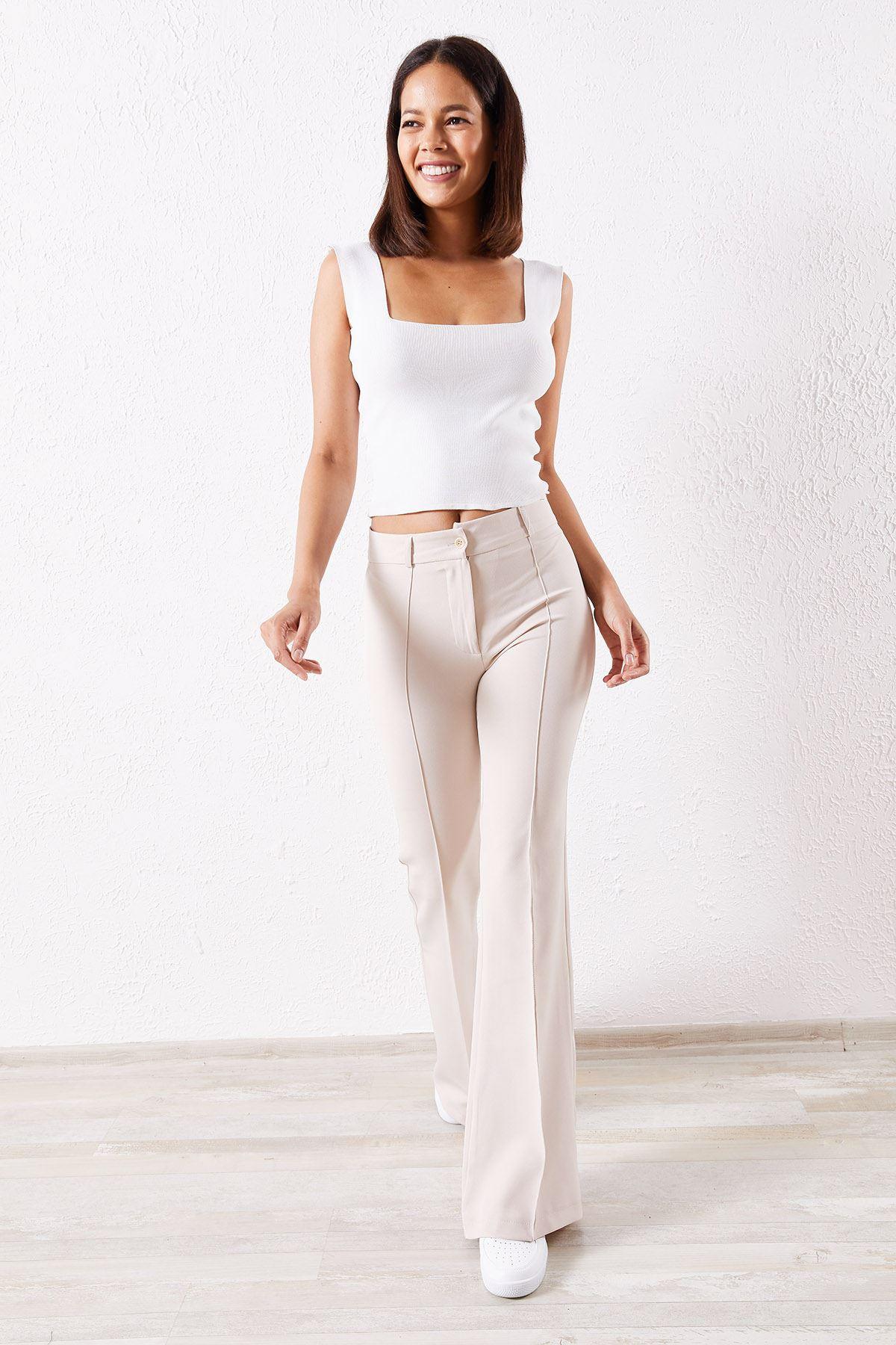 İspanyol Paça Taş Kumaş Pantolon