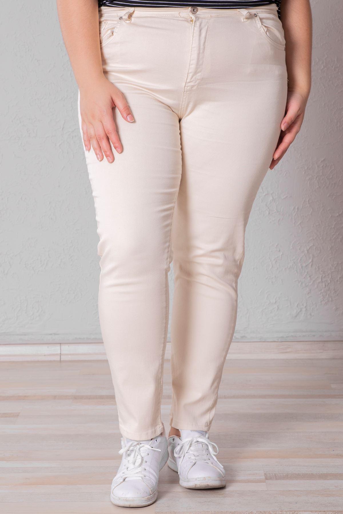 Kadın Battal Likralı Bej Kot Pantolon