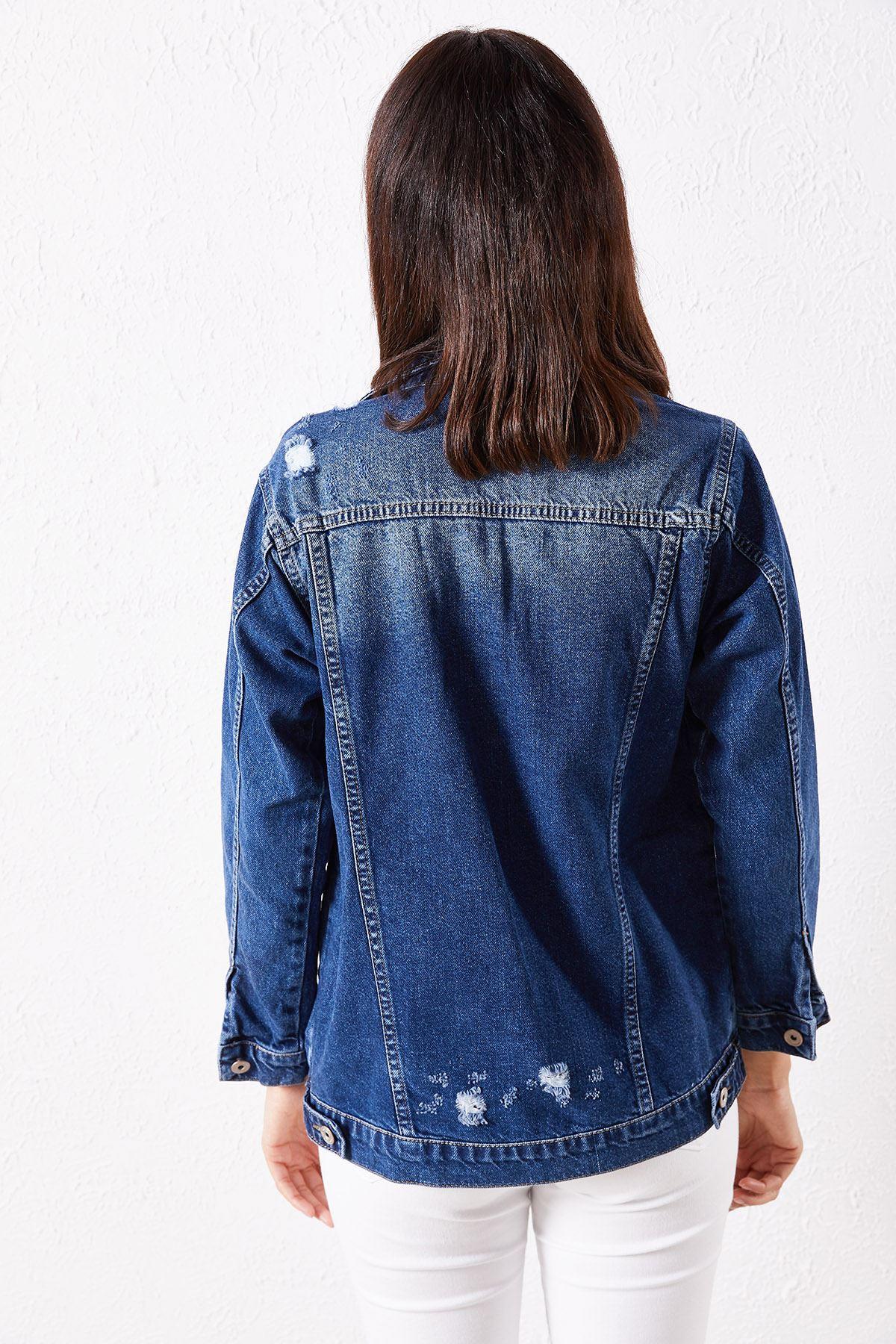 Kadın Yırtık Lacivert Kot Ceket