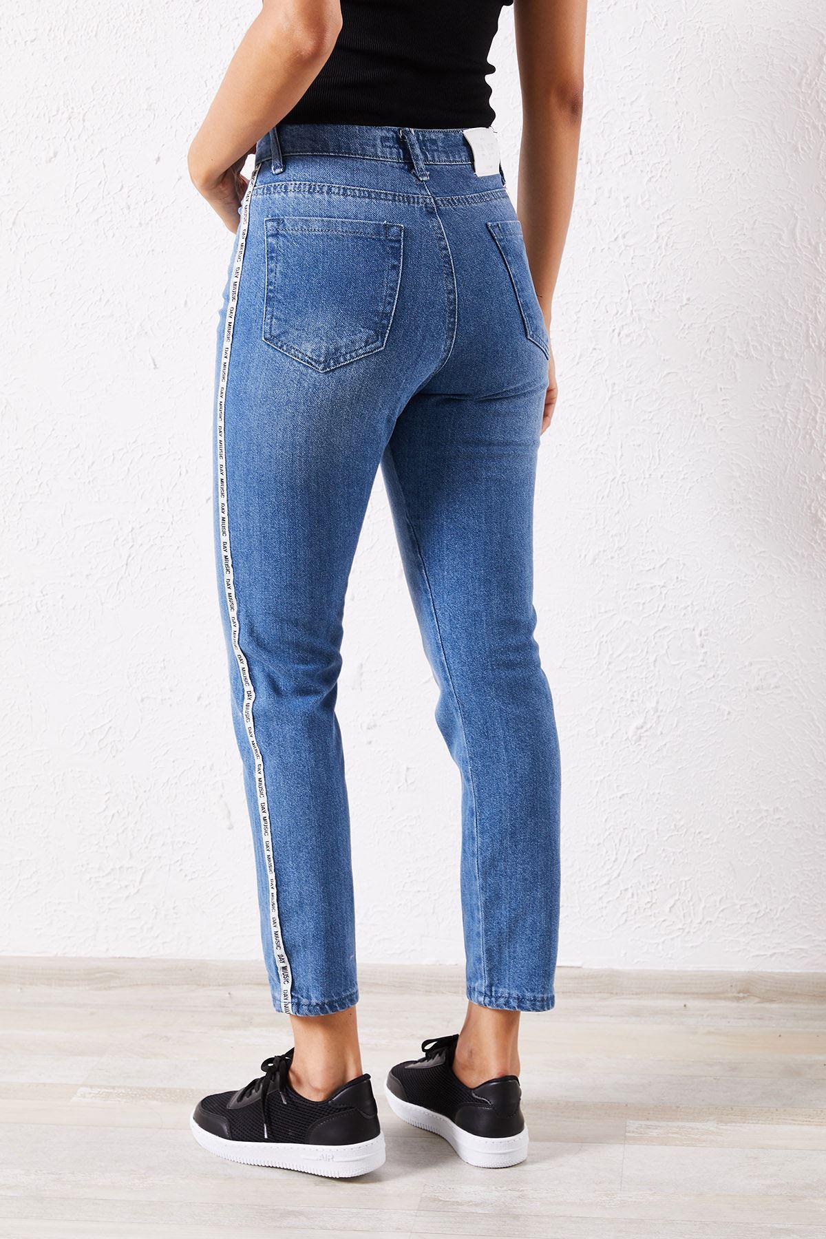 Kadın Şeritli Enzim Yıkamalı Mavi Pantolon