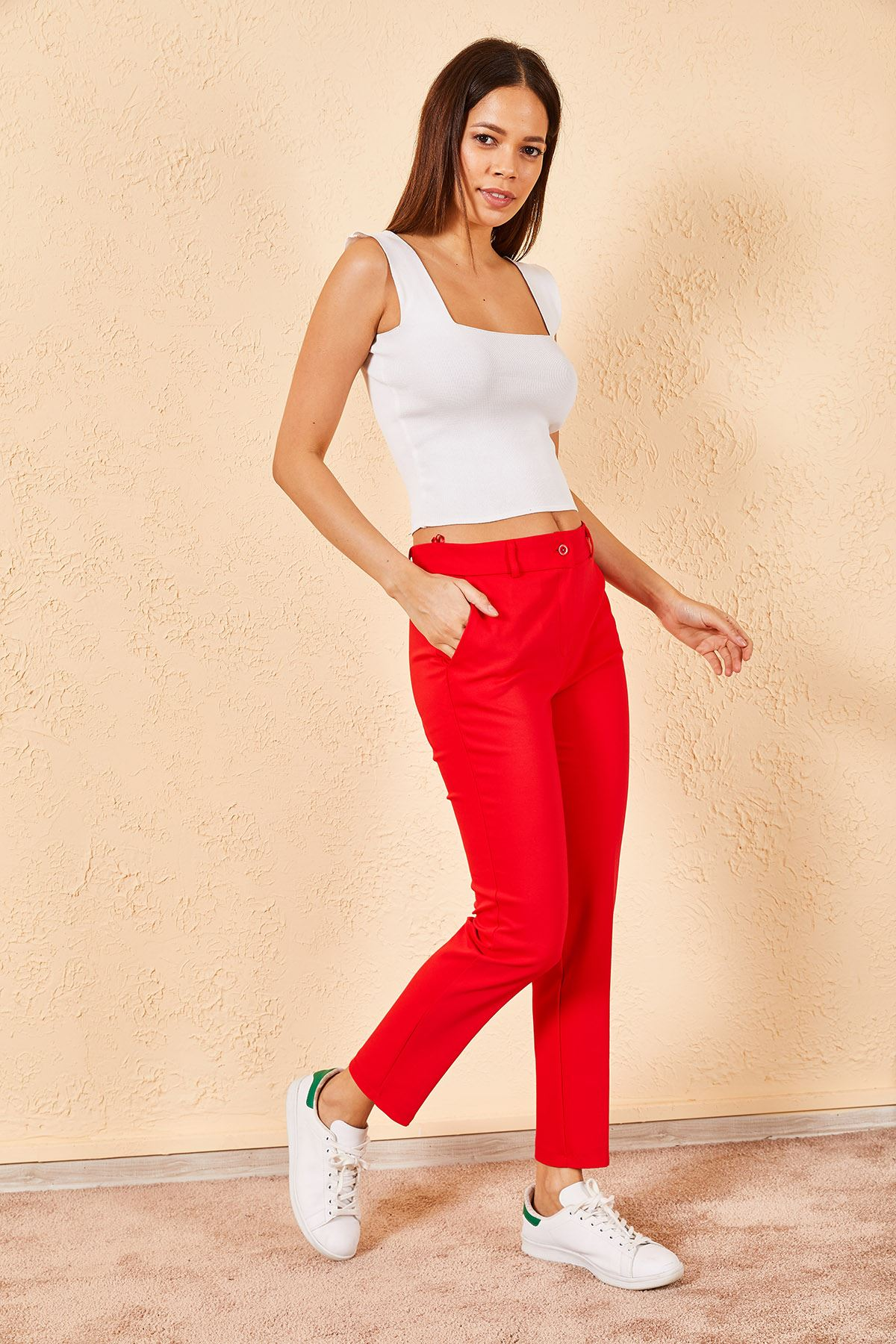 Kadın Kalem Kırmızı Pantolon