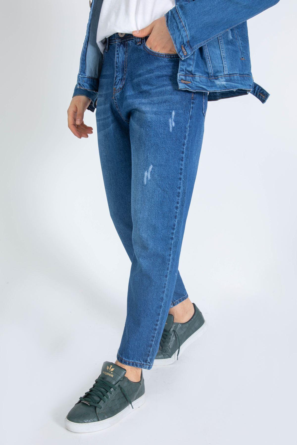 Erkek Lazer Tırnaklı Boyfriend Açık Mavi Kot Pantolon