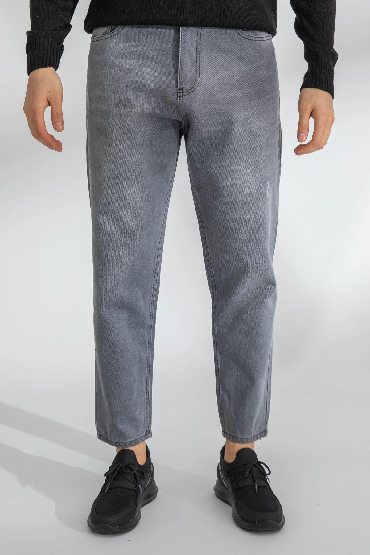 Erkek Boyfriend Gri Kot Pantolon