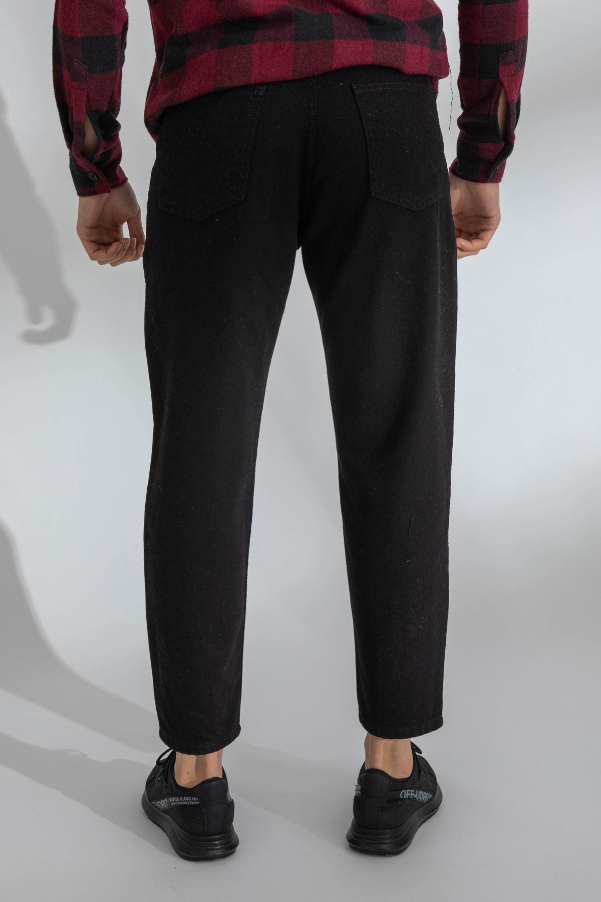 Erkek Yırtıklı Boyfriend Siyah Kot Pantolon