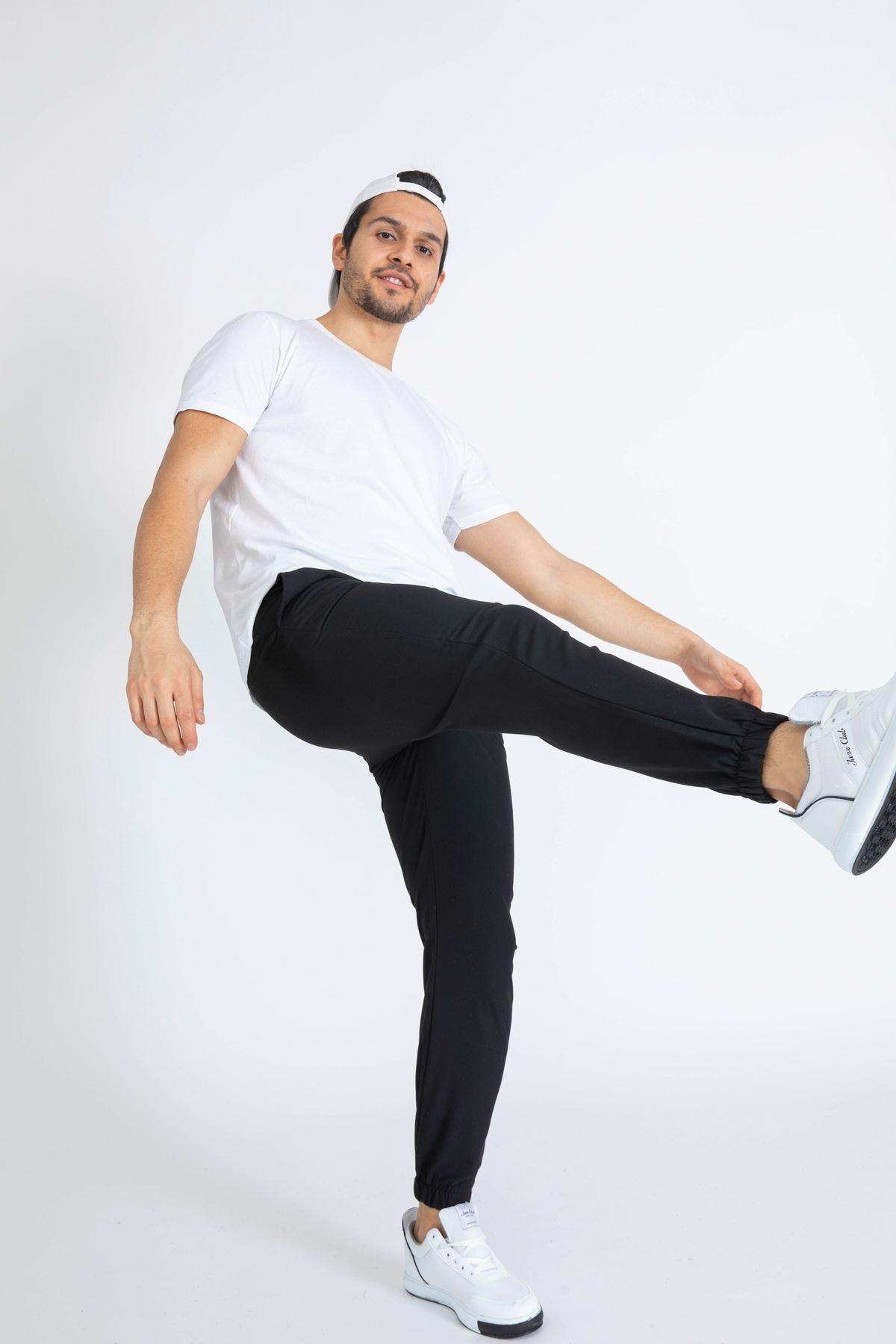Erkek Paça Lastikli Siyah Dalgıç Pantolon
