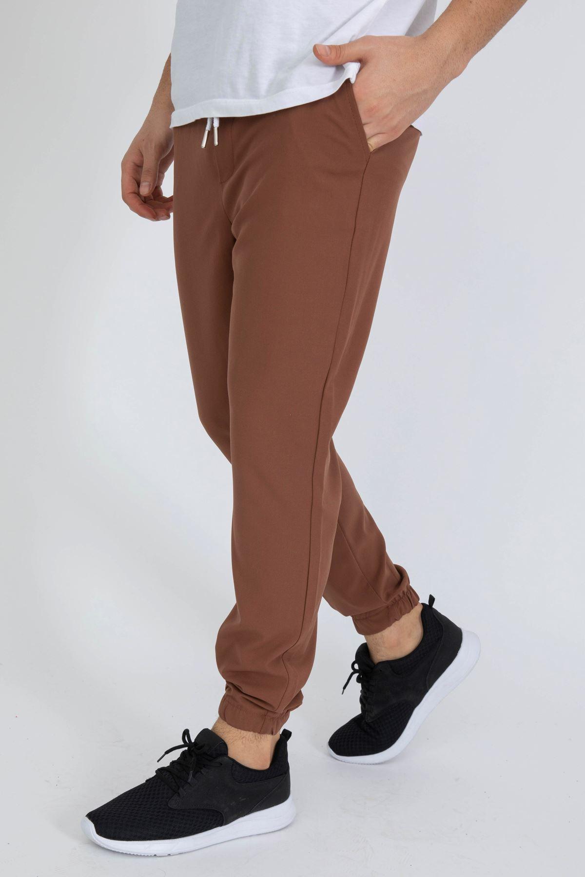 Erkek Paça Lastikli Kahverengi Dalgıç Pantolon