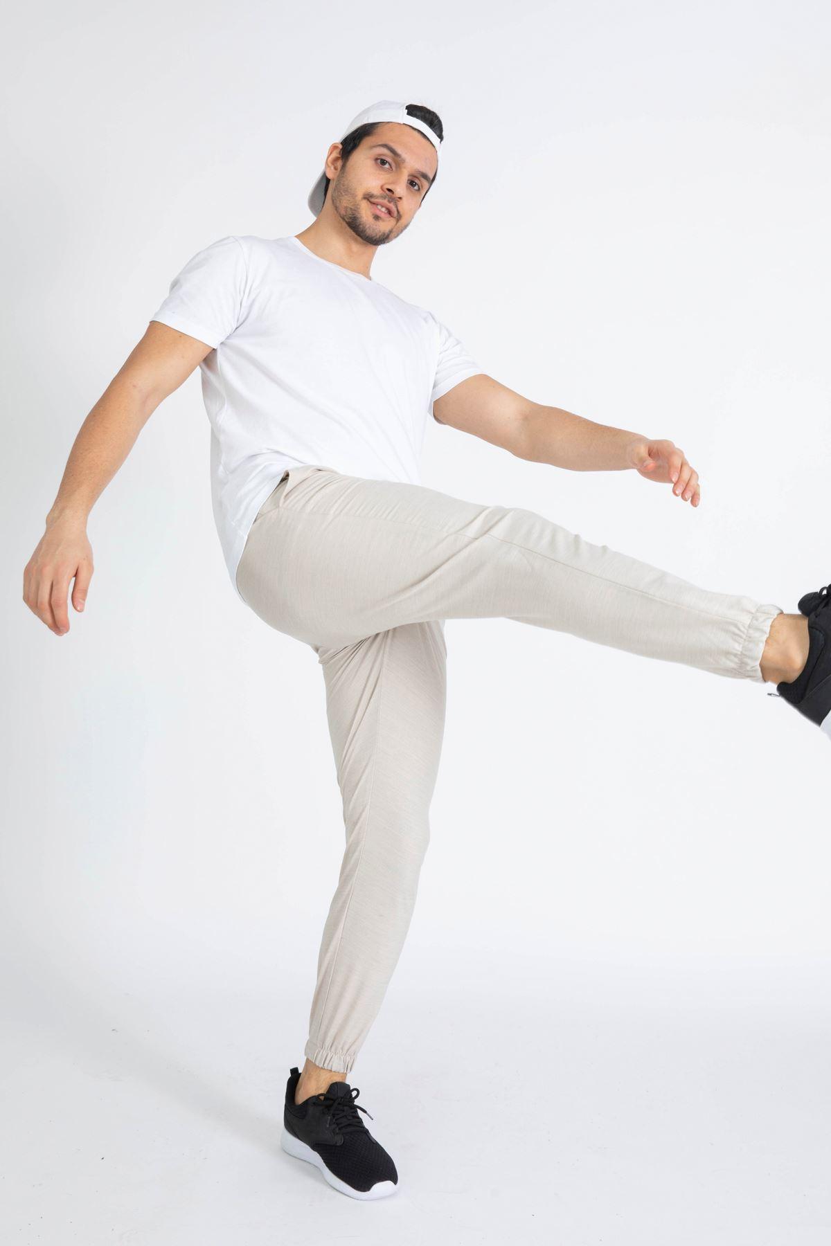 Erkek Paça Lastikli Bej Dalgıç Pantolon