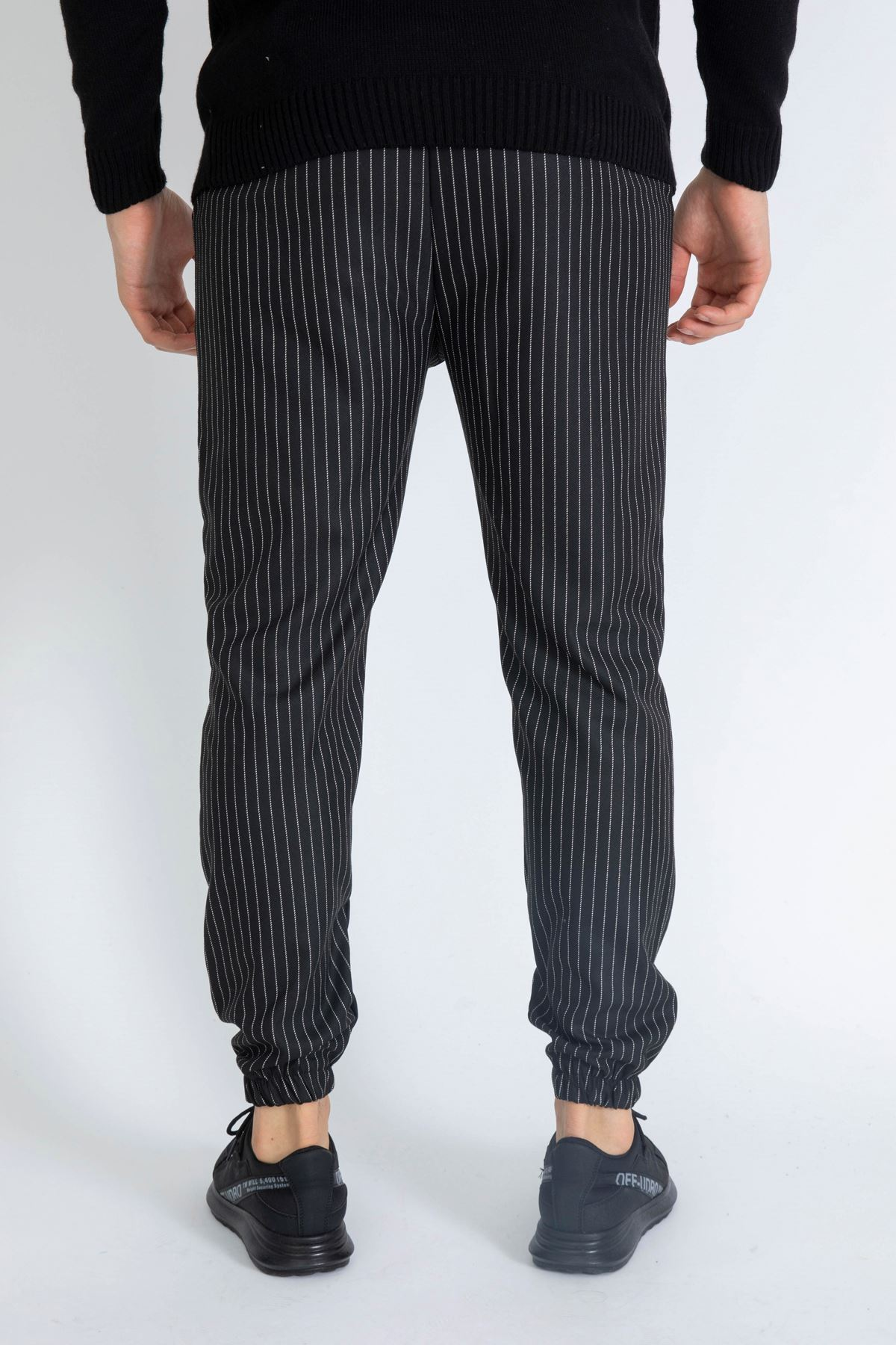 Erkek Beli Lastikli Çizgili Siyah Jogger Pantolon