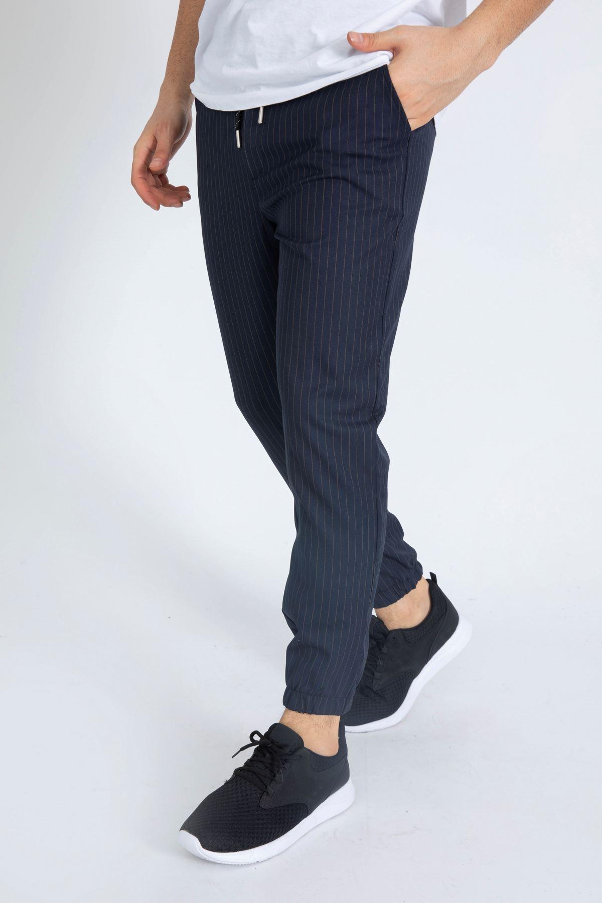 Erkek Beli Lastikli Çizgili Lacivert Jogger Pantolon