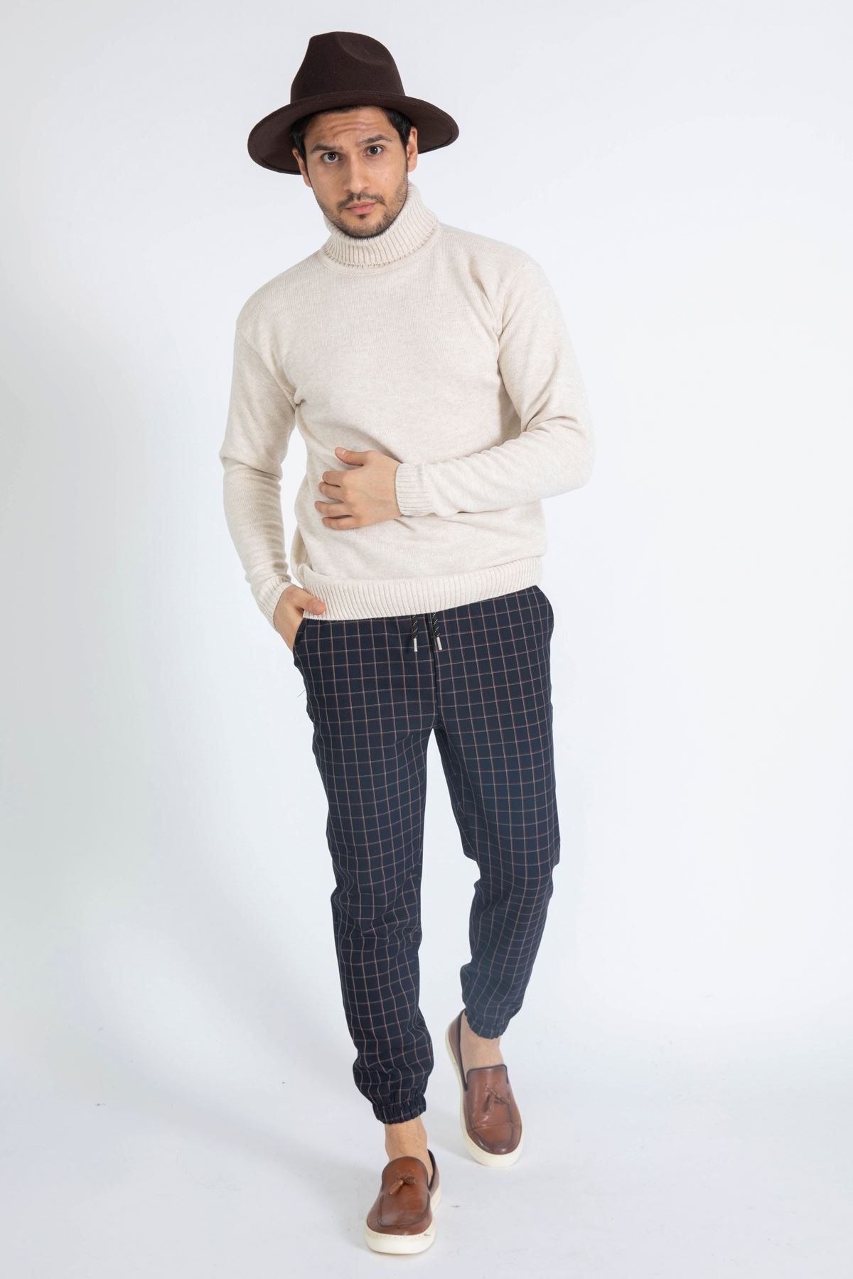Erkek Beli Lastikli Çizgili Koyu Lacivert Jogger Pantolon