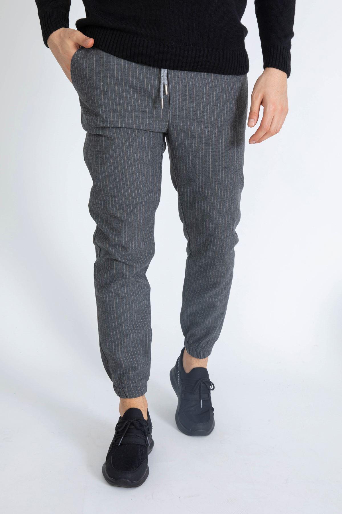 Erkek Beli Lastikli Çizgili Füme Jogger Pantolon