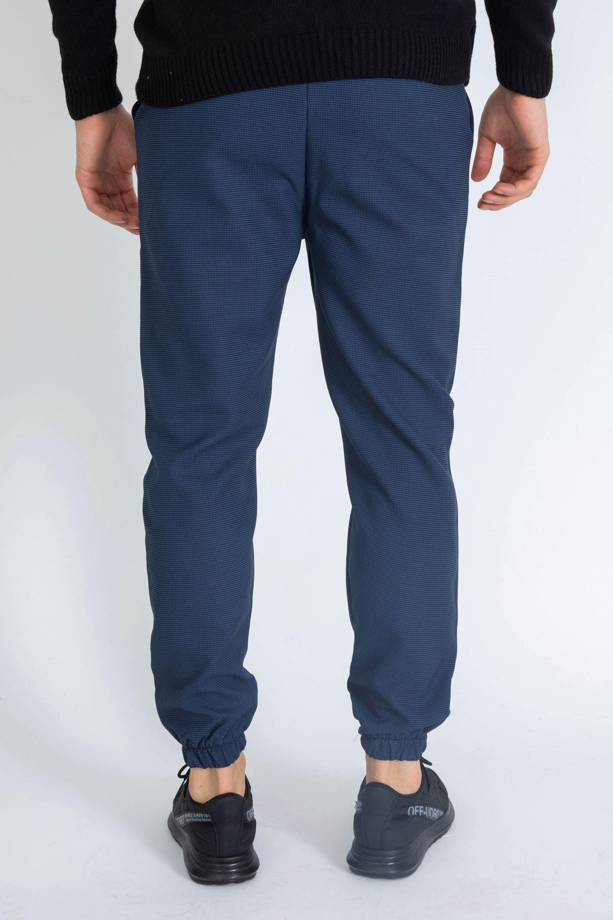 Erkek Beli Lastikli Pöti Kareli Mavi Jogger Pantolon