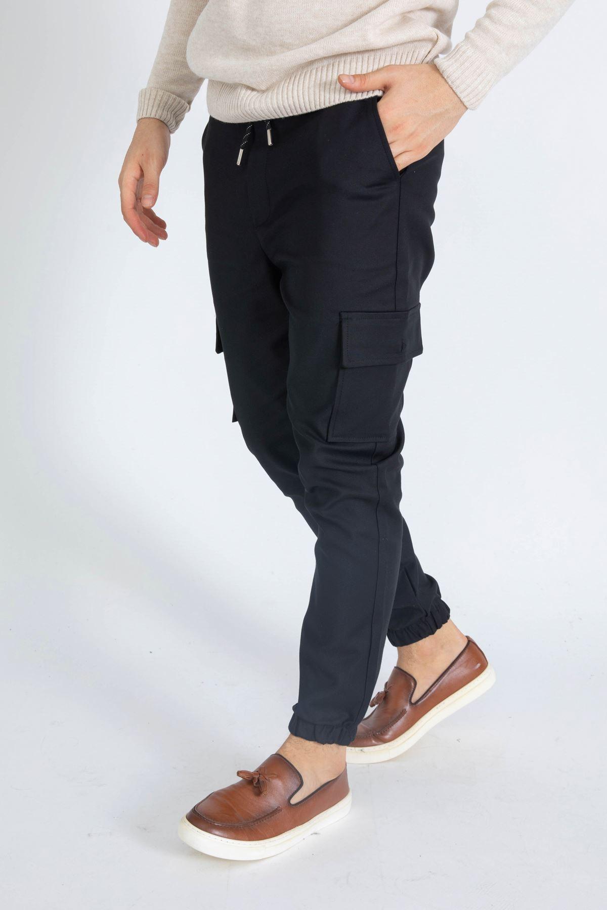 Erkek Komando Cep Siyah Pantolon