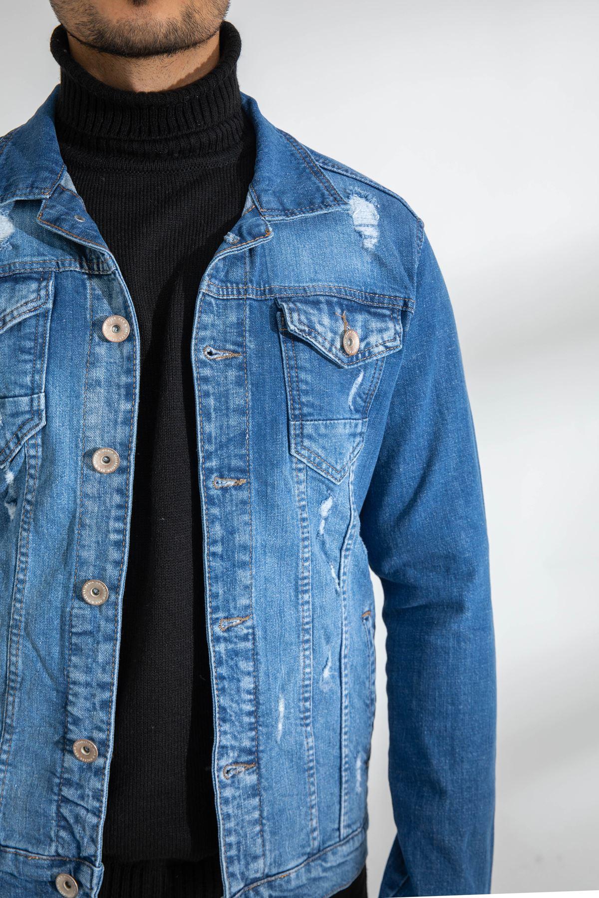 Erkek Likralı Lazer Yırtıklı Mavi Kot Ceket