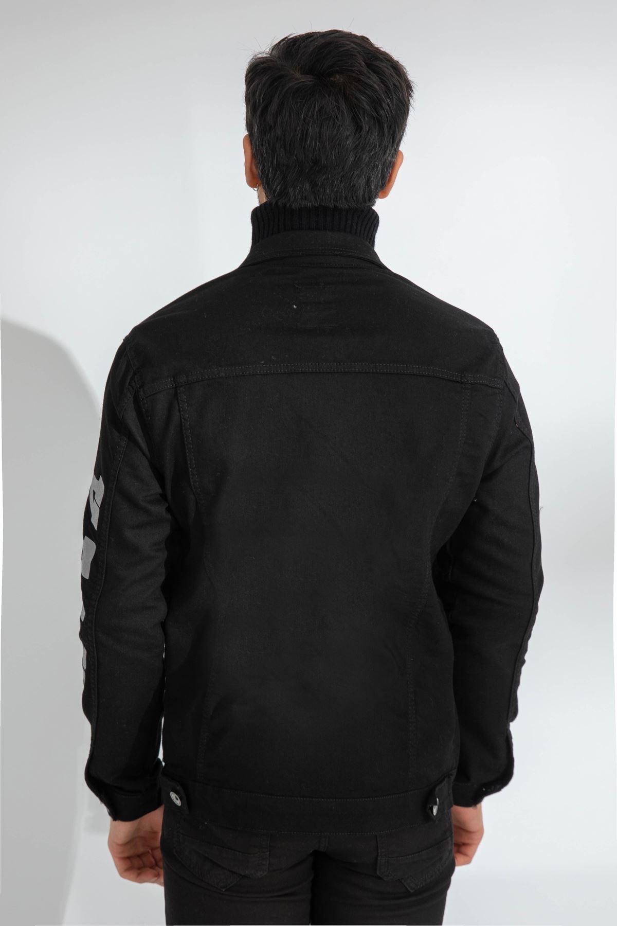 Erkek Slim Kolu Baskılı Siyah Kot Ceket