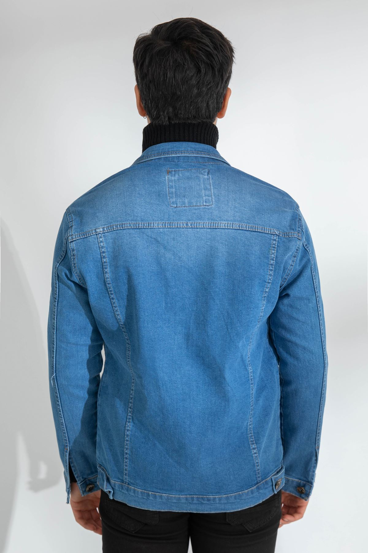 Erkek Likralı Slim Lazer Yırtıklı Mavi Kot Ceket