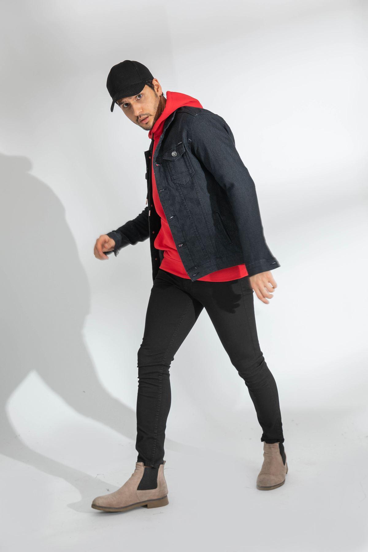 Erkek Likralı Slim Örgü Gri Kot Ceket