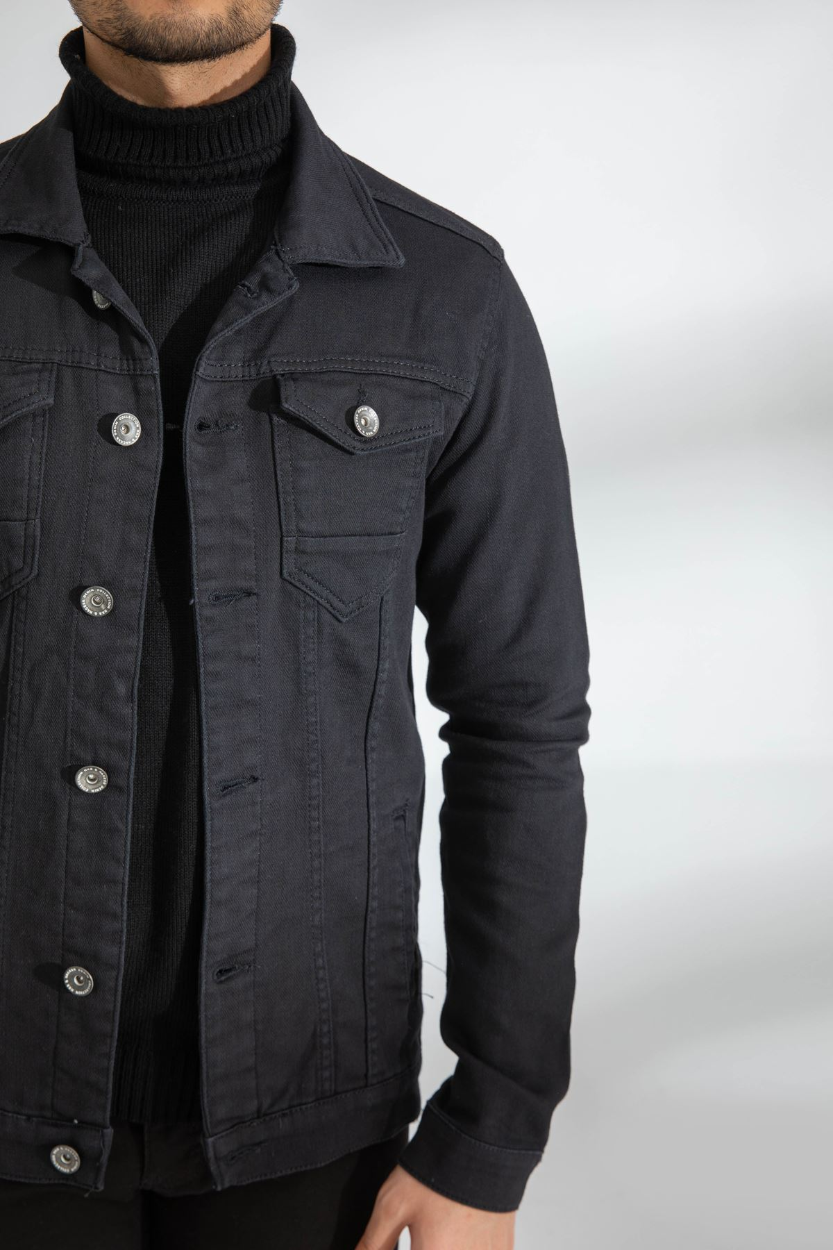 Erkek Likralı Siyah Kot Ceket