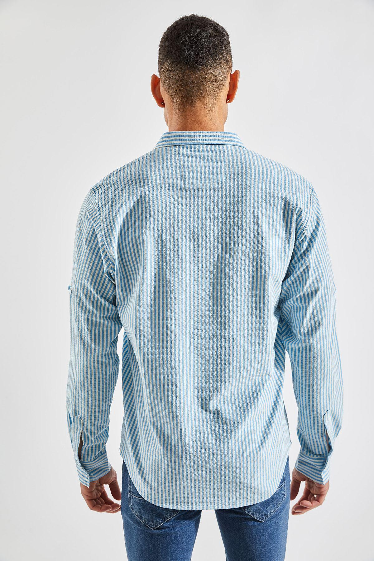 Erkek Kol Apoletli Mavi Gömlek