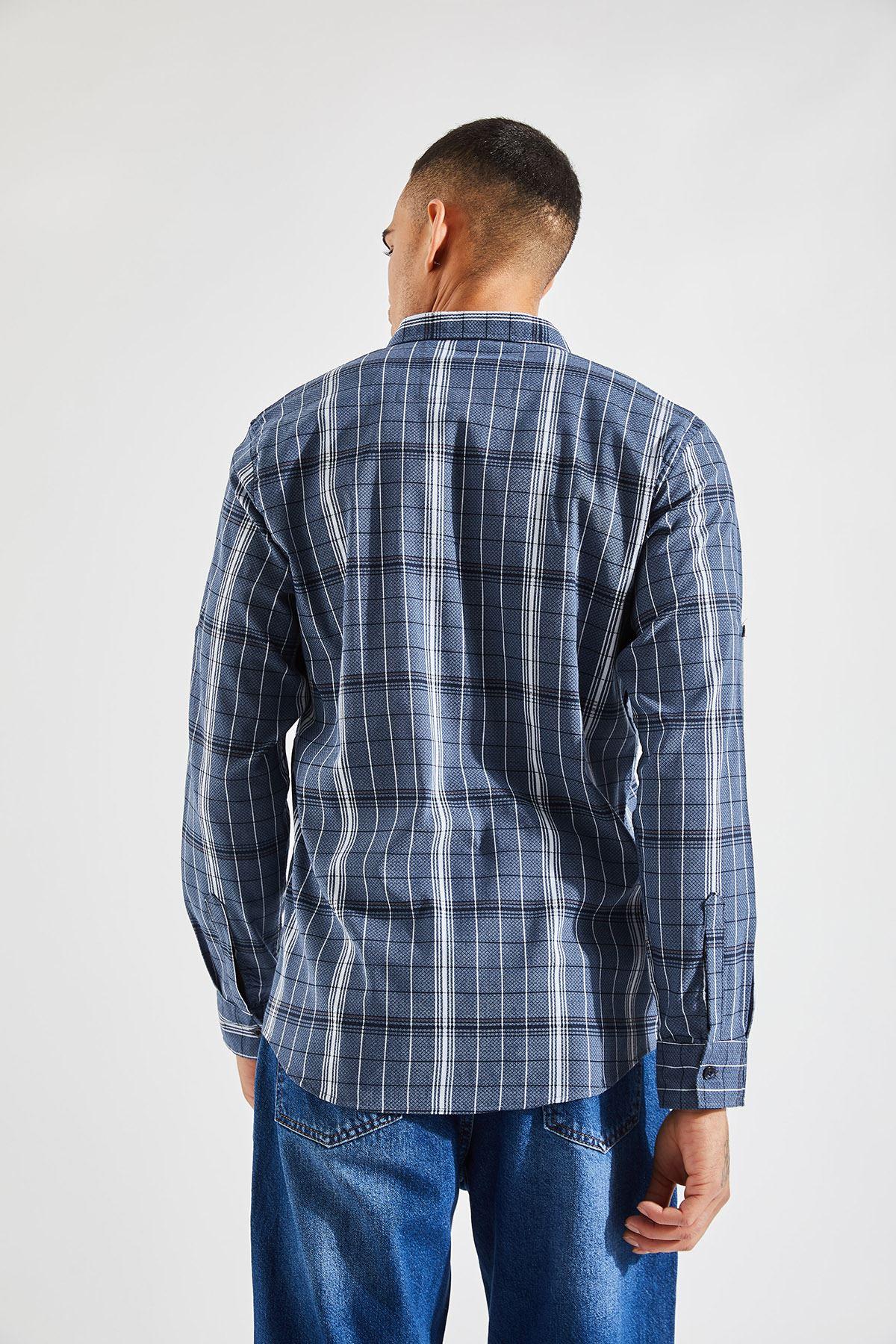 Erkek Kol Apoletli Çizgili Lacivert Gömlek