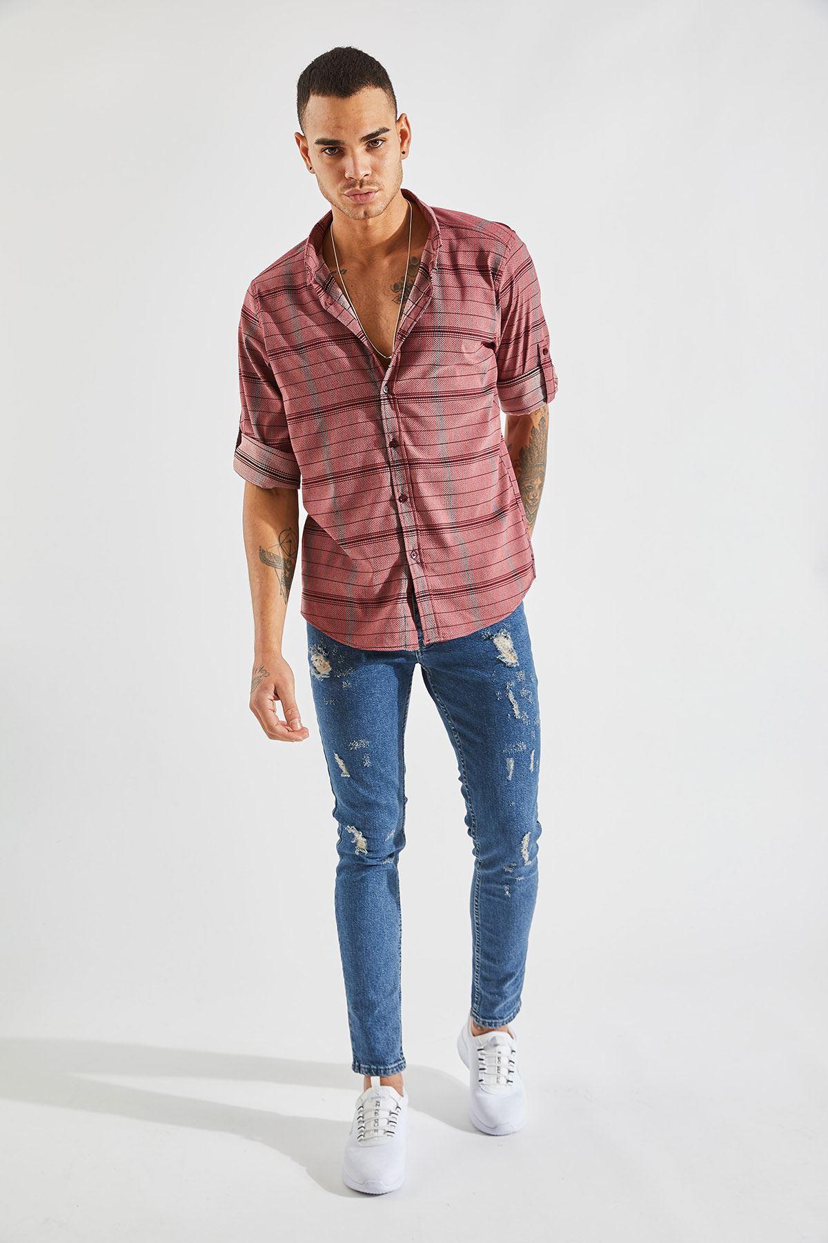 Erkek Kol Apoletli Çizgili Bordo Gömlek